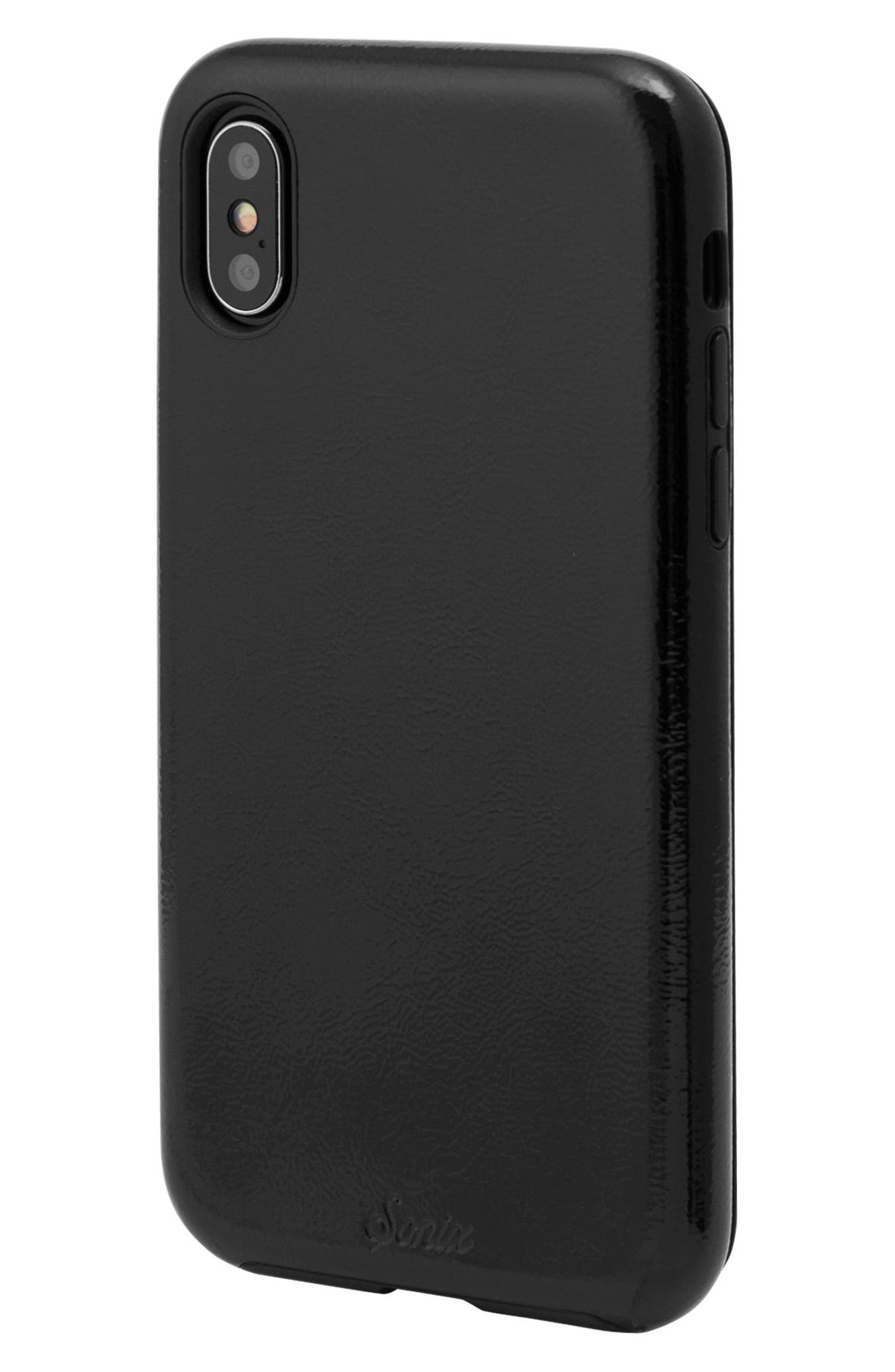 Black Patent Faux Leather iPhone X Case,                             Alternate thumbnail 2, color,                             Black
