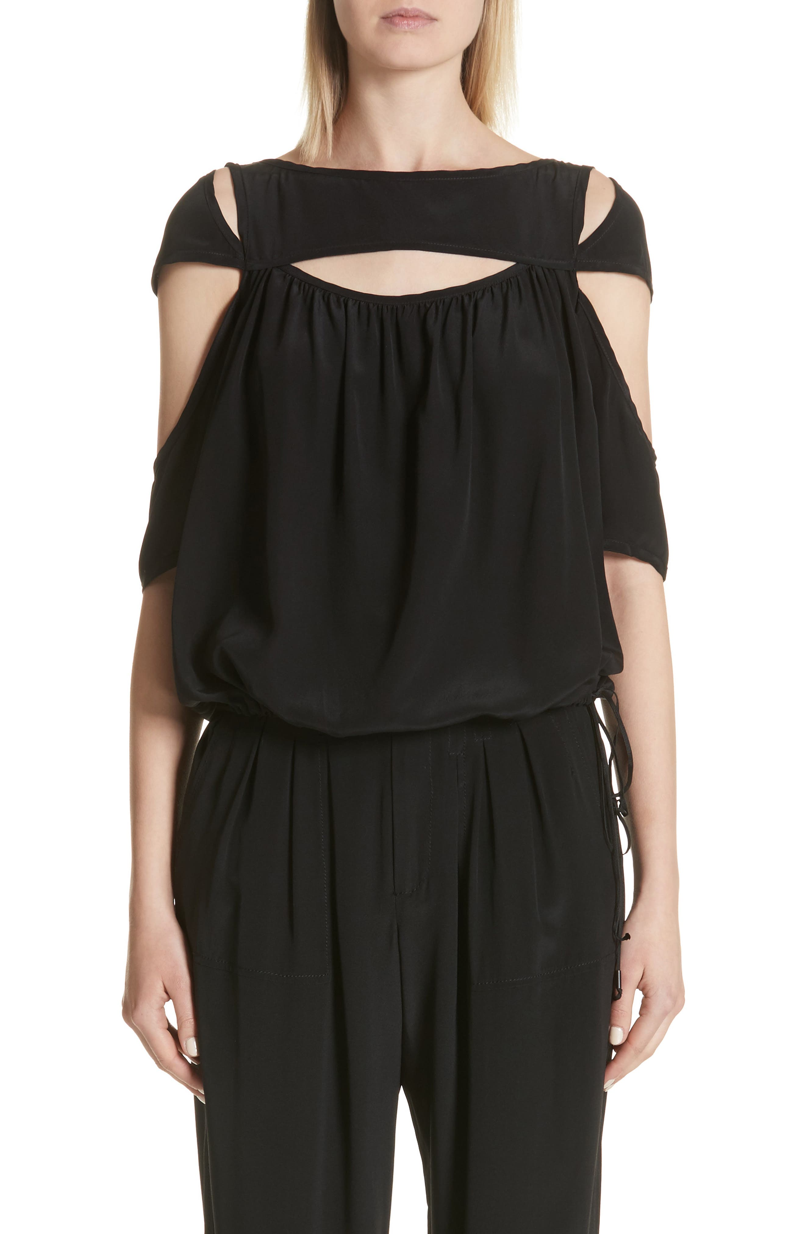 Cutout Silk Top,                         Main,                         color, Black