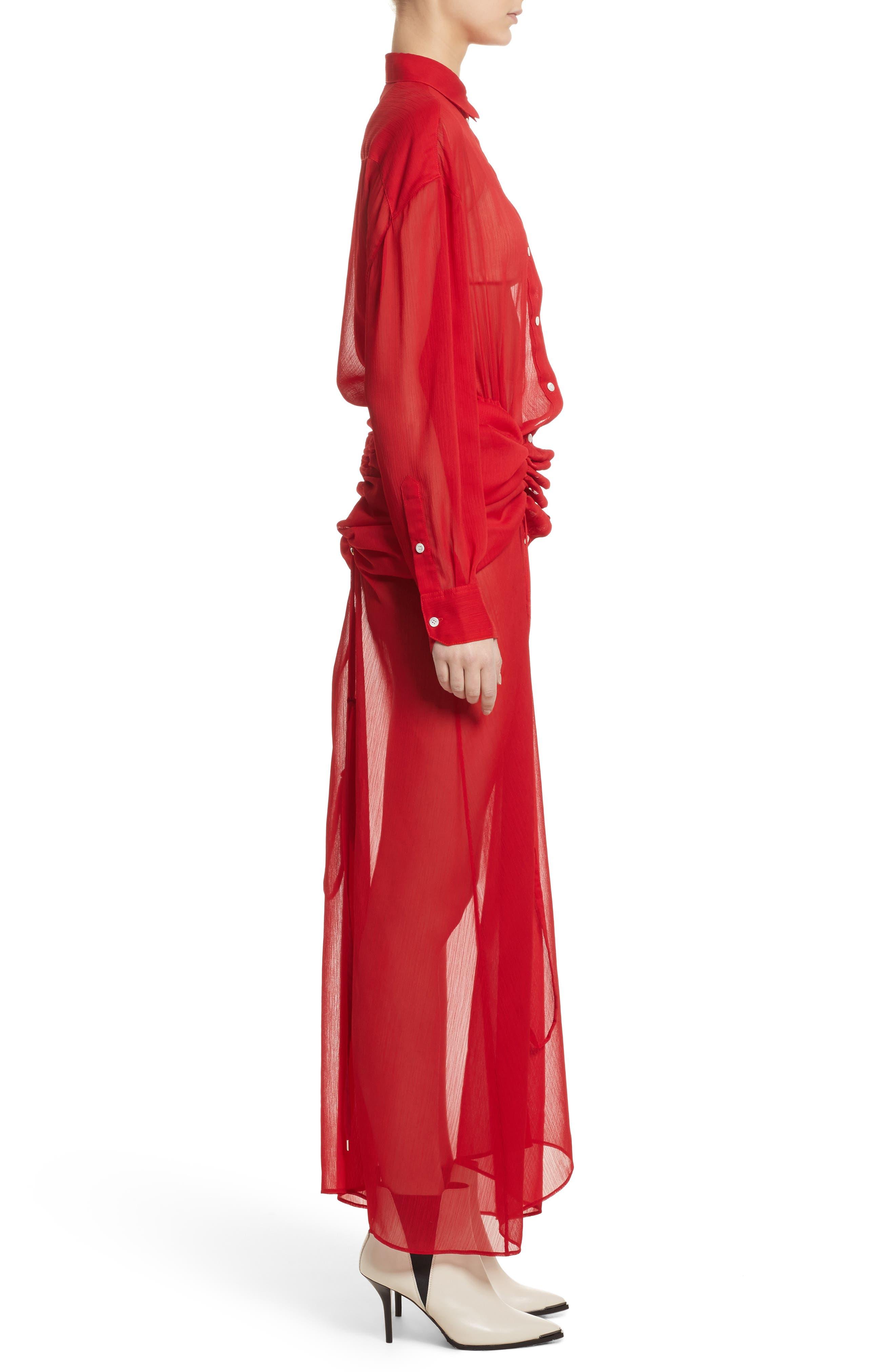Sheer Drawstring Shirtdress,                             Alternate thumbnail 4, color,                             Red
