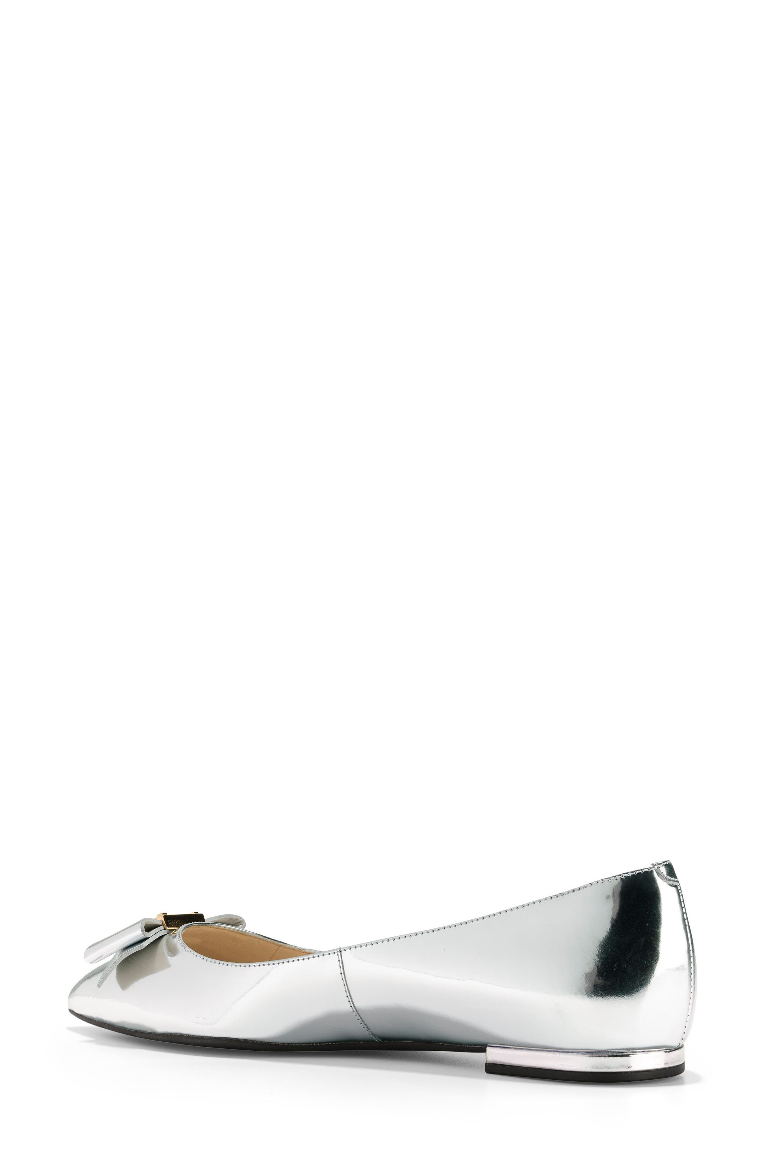Tali Bow Skimmer Flat,                             Alternate thumbnail 2, color,                             Argento Leather