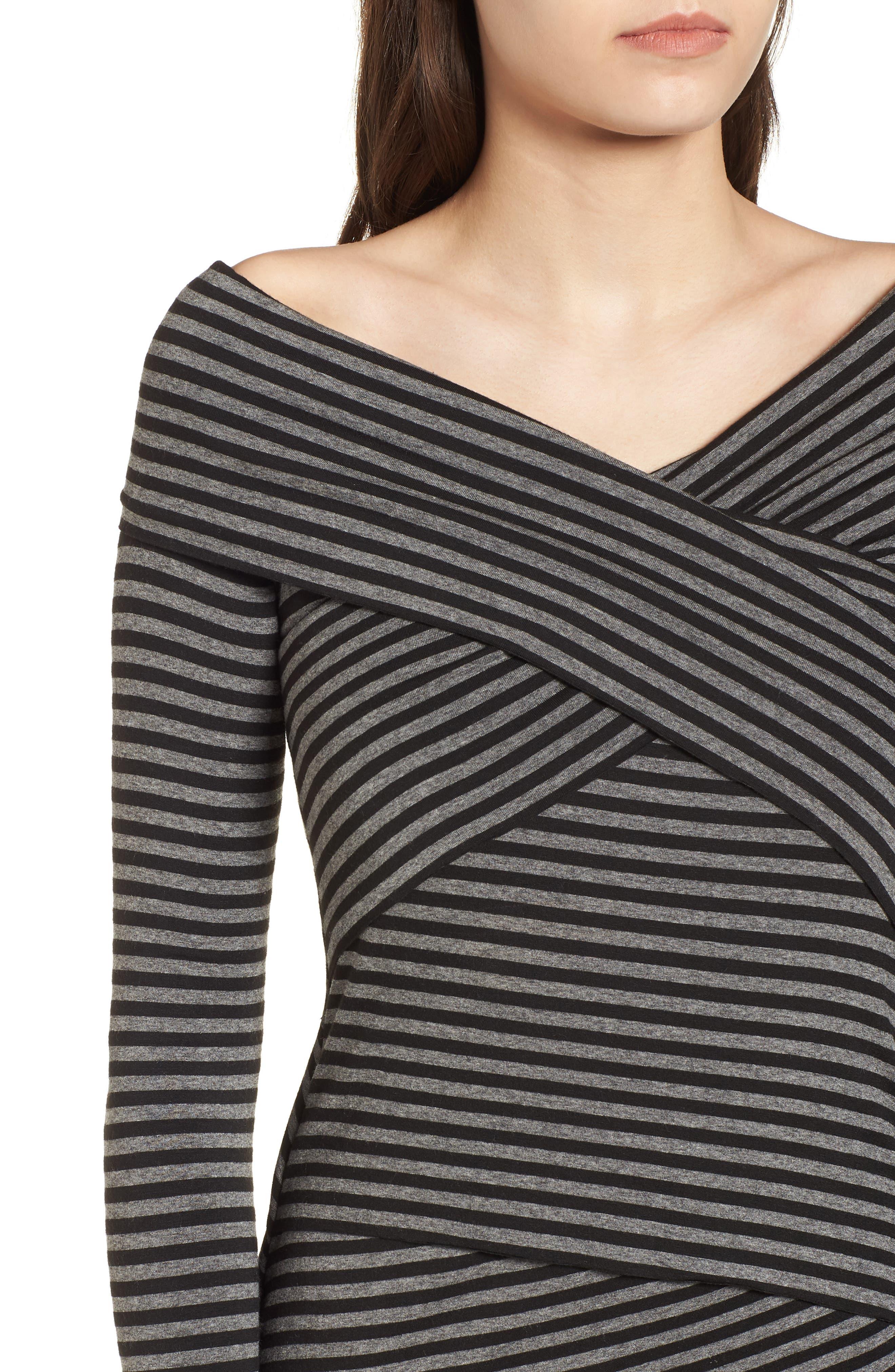Edamame Body-Con Dress,                             Alternate thumbnail 4, color,                             Black Grey
