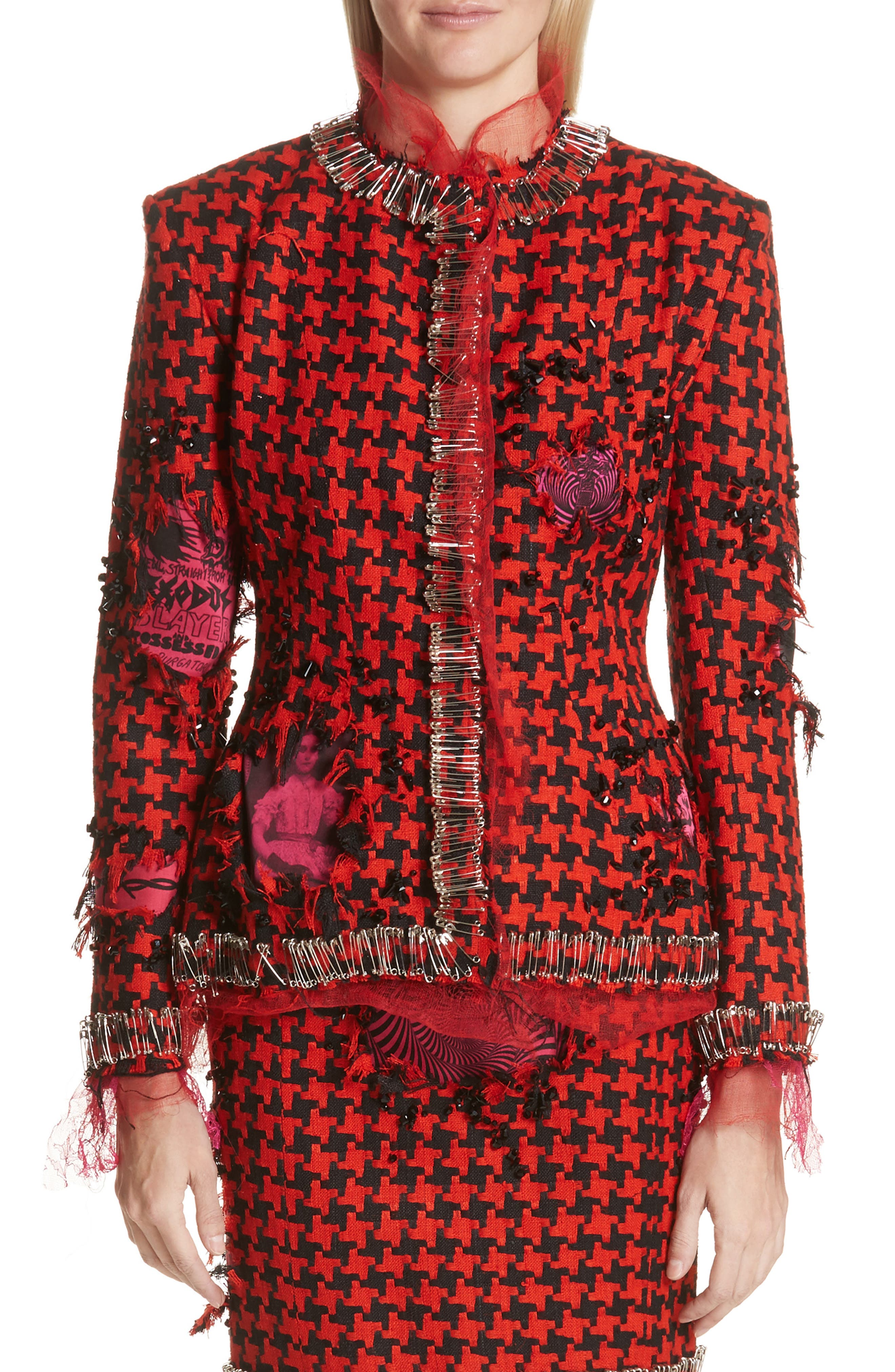 Prime Minister Houndstooth Wool Jacket,                             Main thumbnail 1, color,                             Red