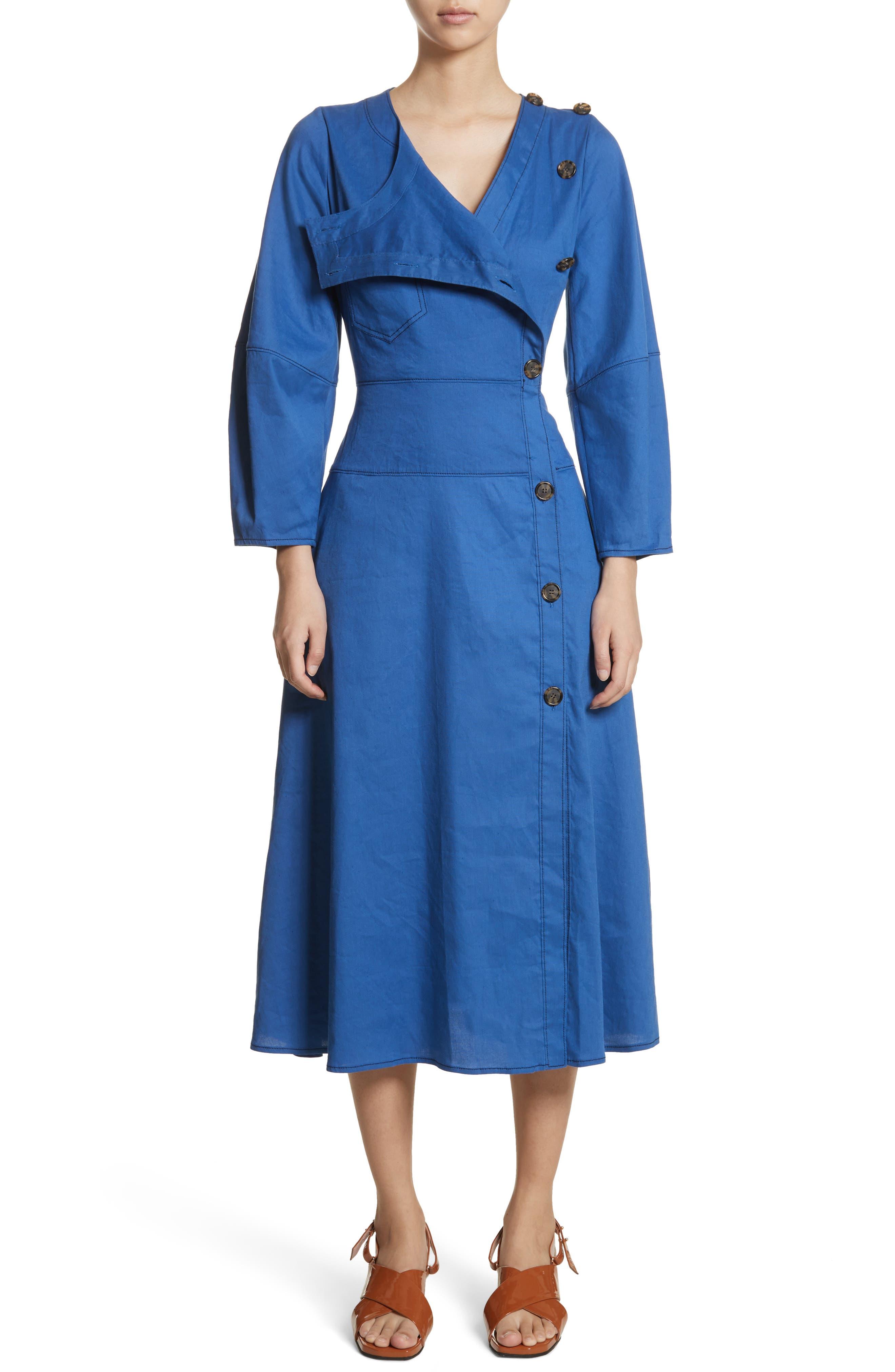 Michaela Linen Dress,                         Main,                         color, Linen Blue