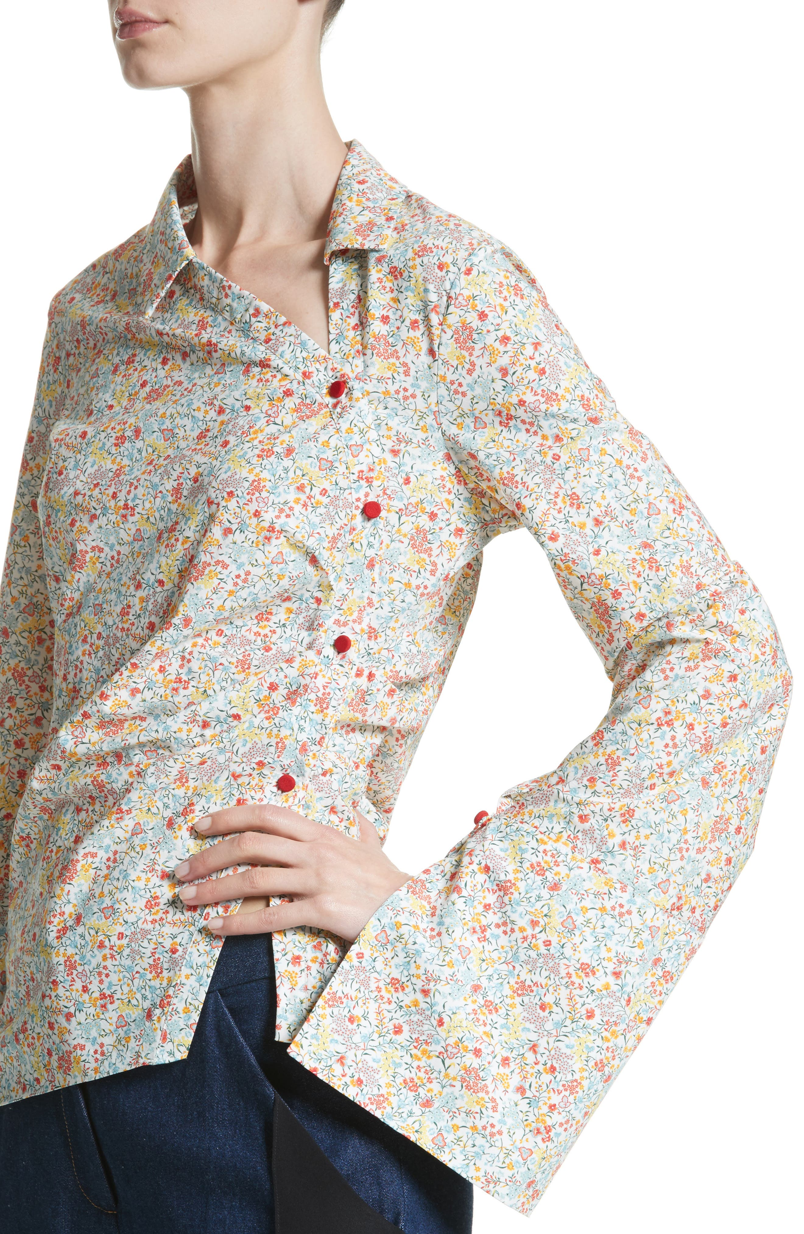 Wyatt Asymmetrical Cotton Blouse,                             Alternate thumbnail 4, color,                             Multicolor