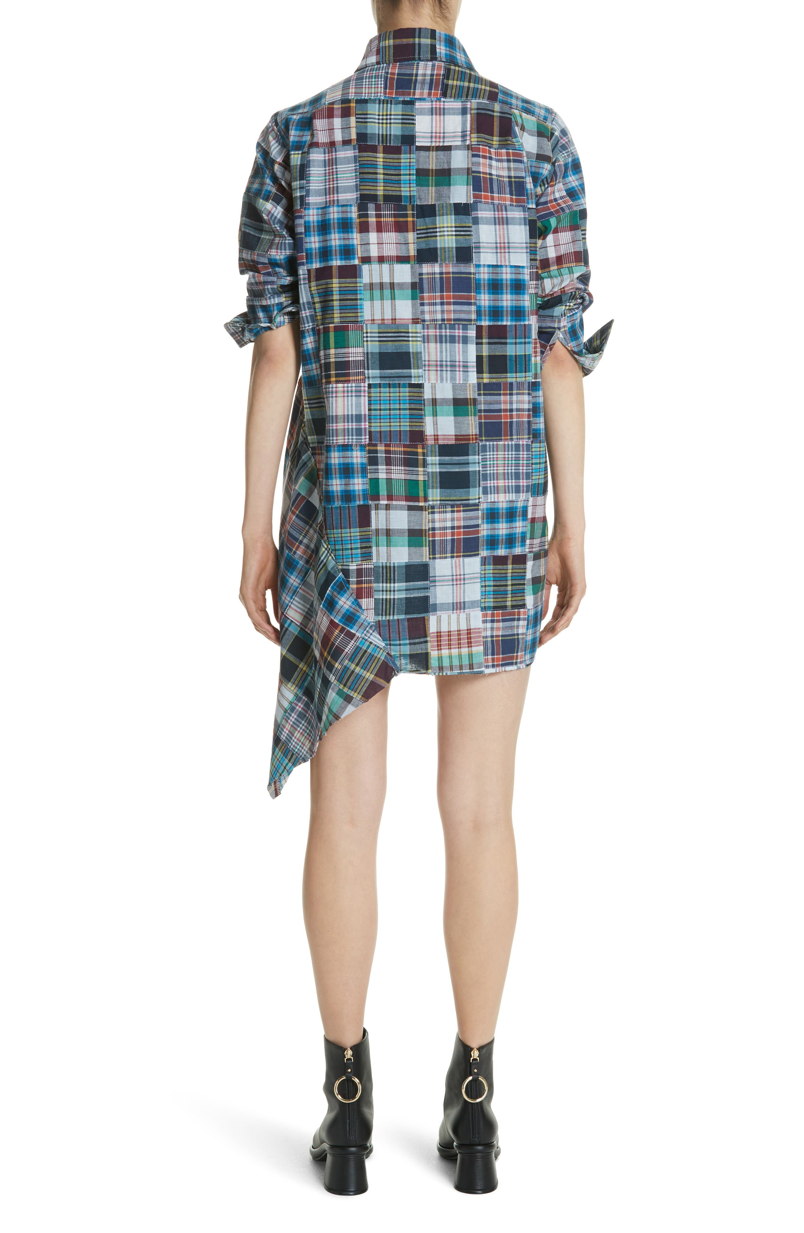 Marques'Almeida Asymmetric Patchwork Plaid Shirtdress,                             Alternate thumbnail 2, color,                             Navy/Multi