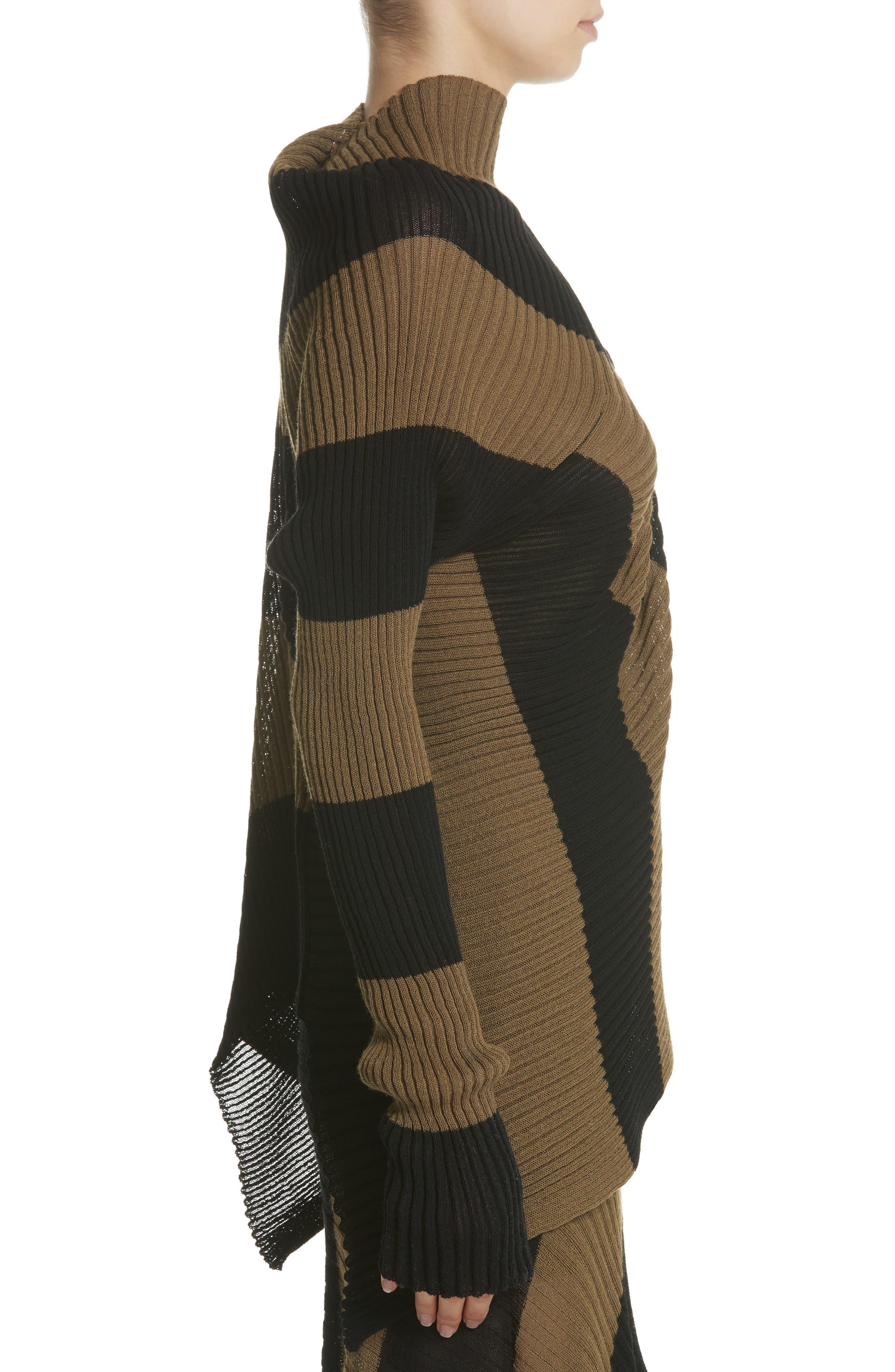 Marques'Almeida Draped One Sleeve Sweater,                             Alternate thumbnail 3, color,                             Khaki/ Black