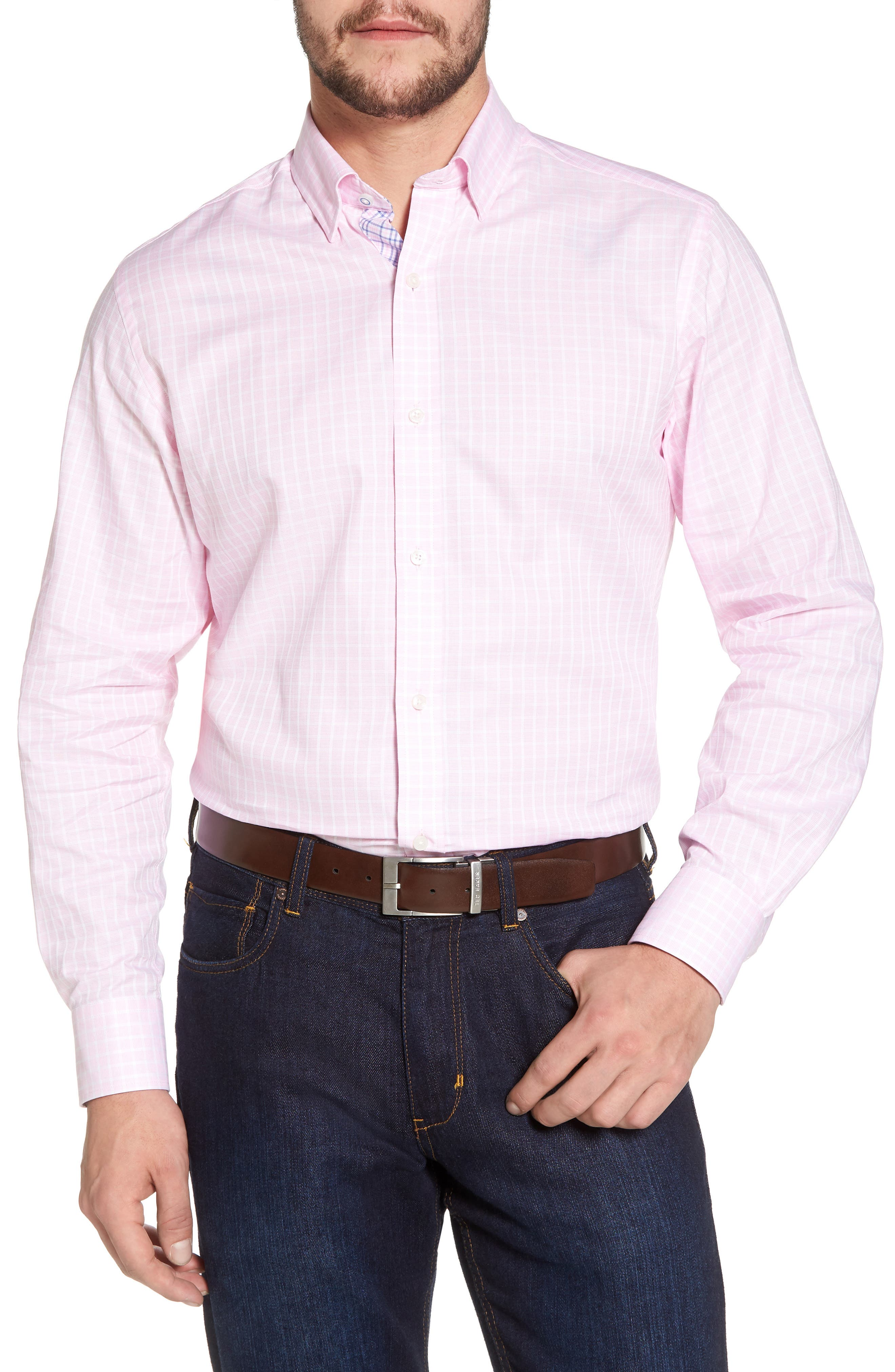 Bela Regular Fit Grid Sport Shirt,                             Main thumbnail 1, color,                             Pink