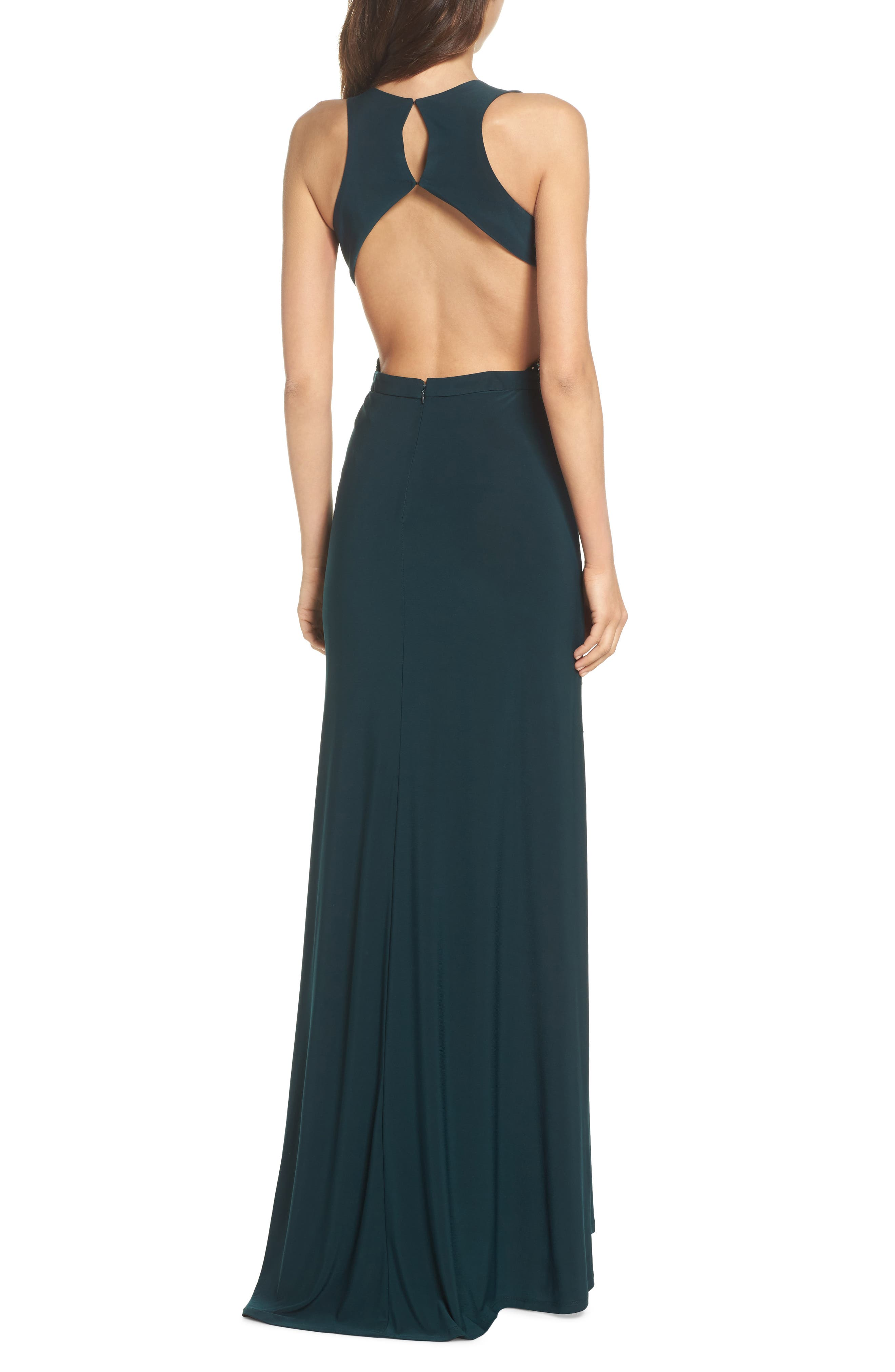 Embellished Cutout Stretch Knit Gown,                             Alternate thumbnail 2, color,                             Dark Green