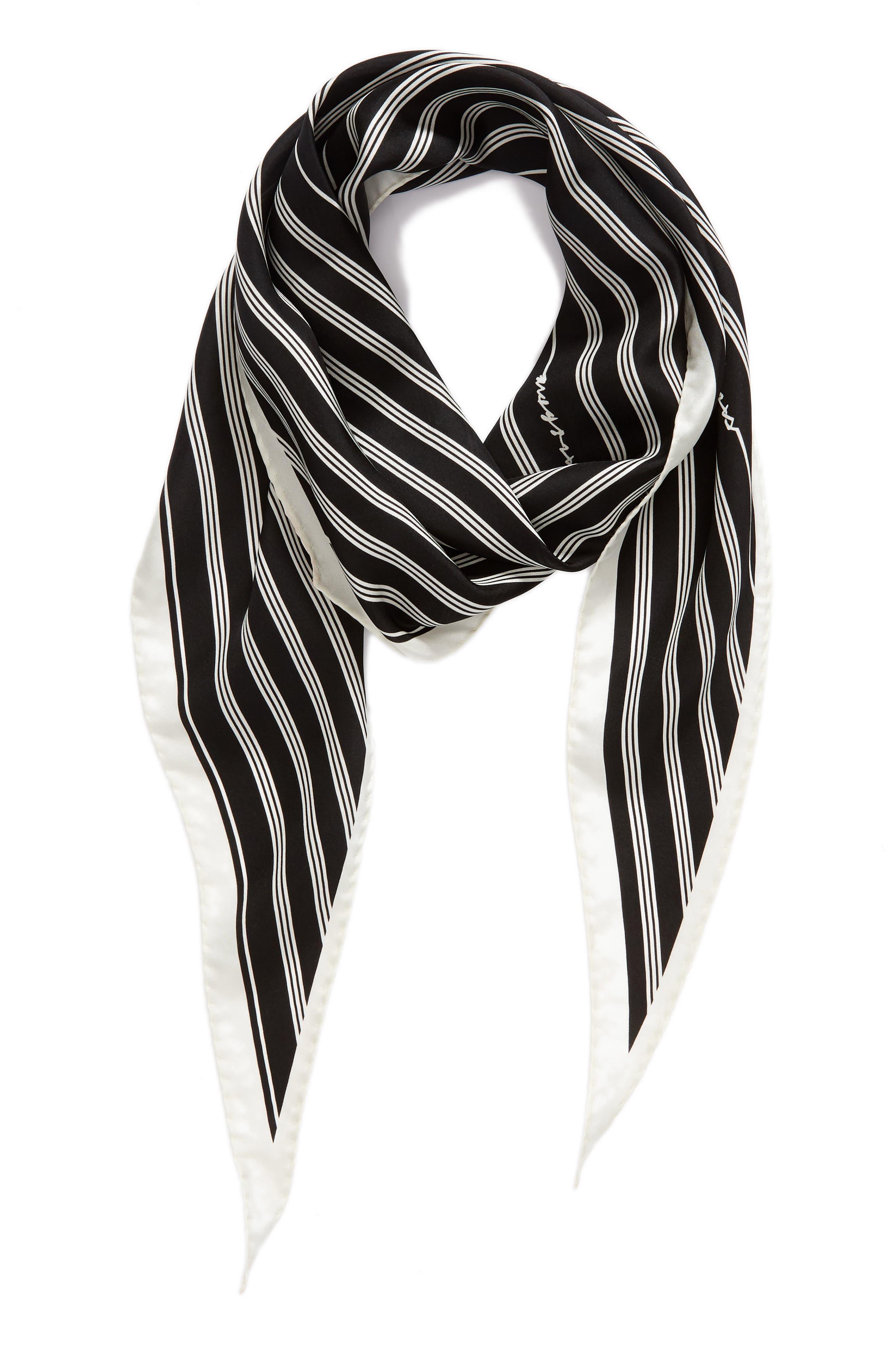 Narrow Stripe Silk Scarf,                             Alternate thumbnail 2, color,                             Black