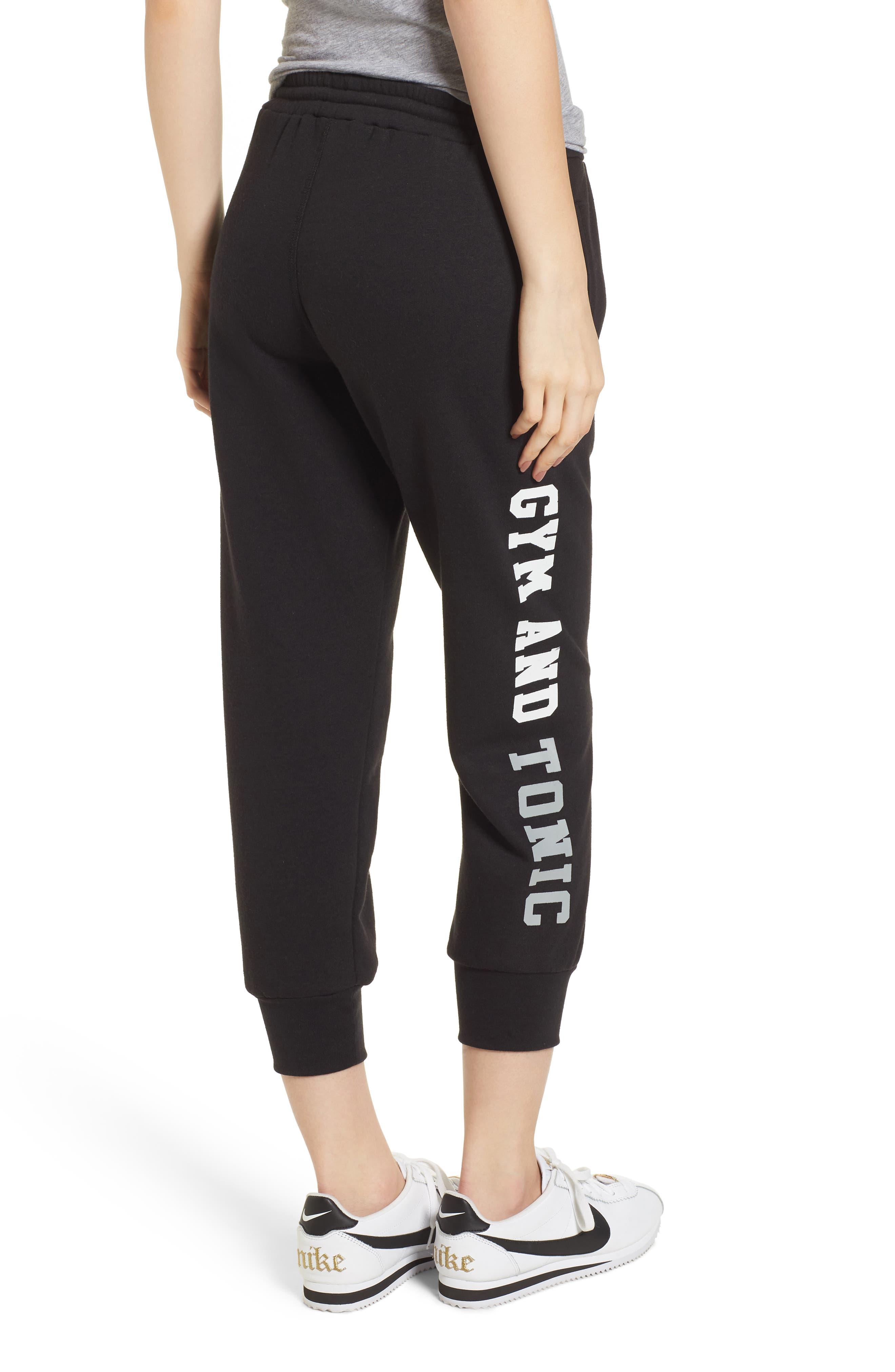 Gym & Tonic Crop Sweatpants,                             Alternate thumbnail 2, color,                             Black