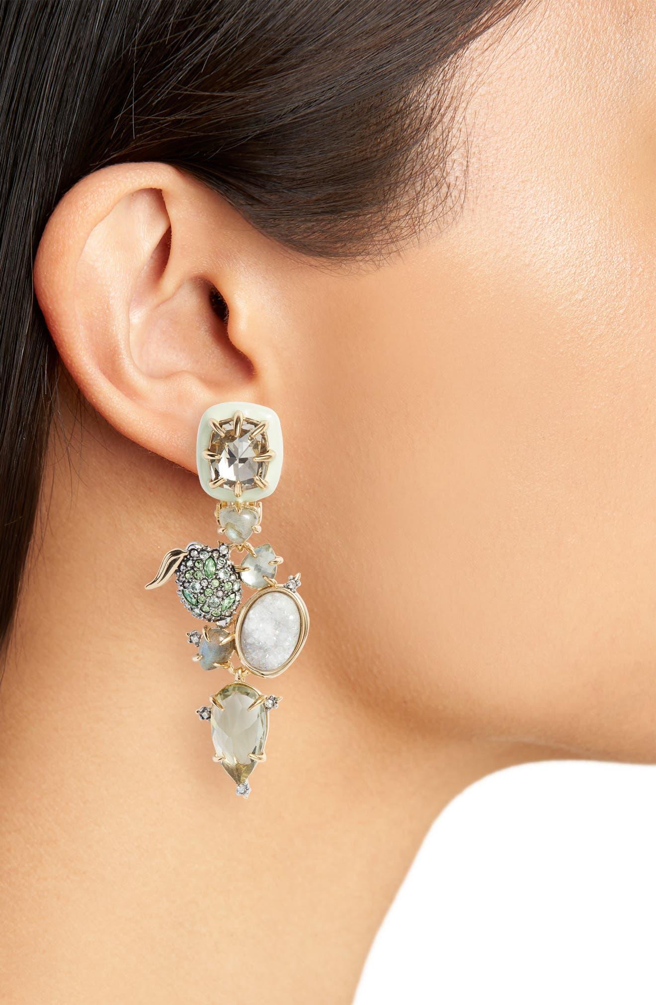 Lime Stone Cluster Clip On Earrings,                             Alternate thumbnail 2, color,                             Gold