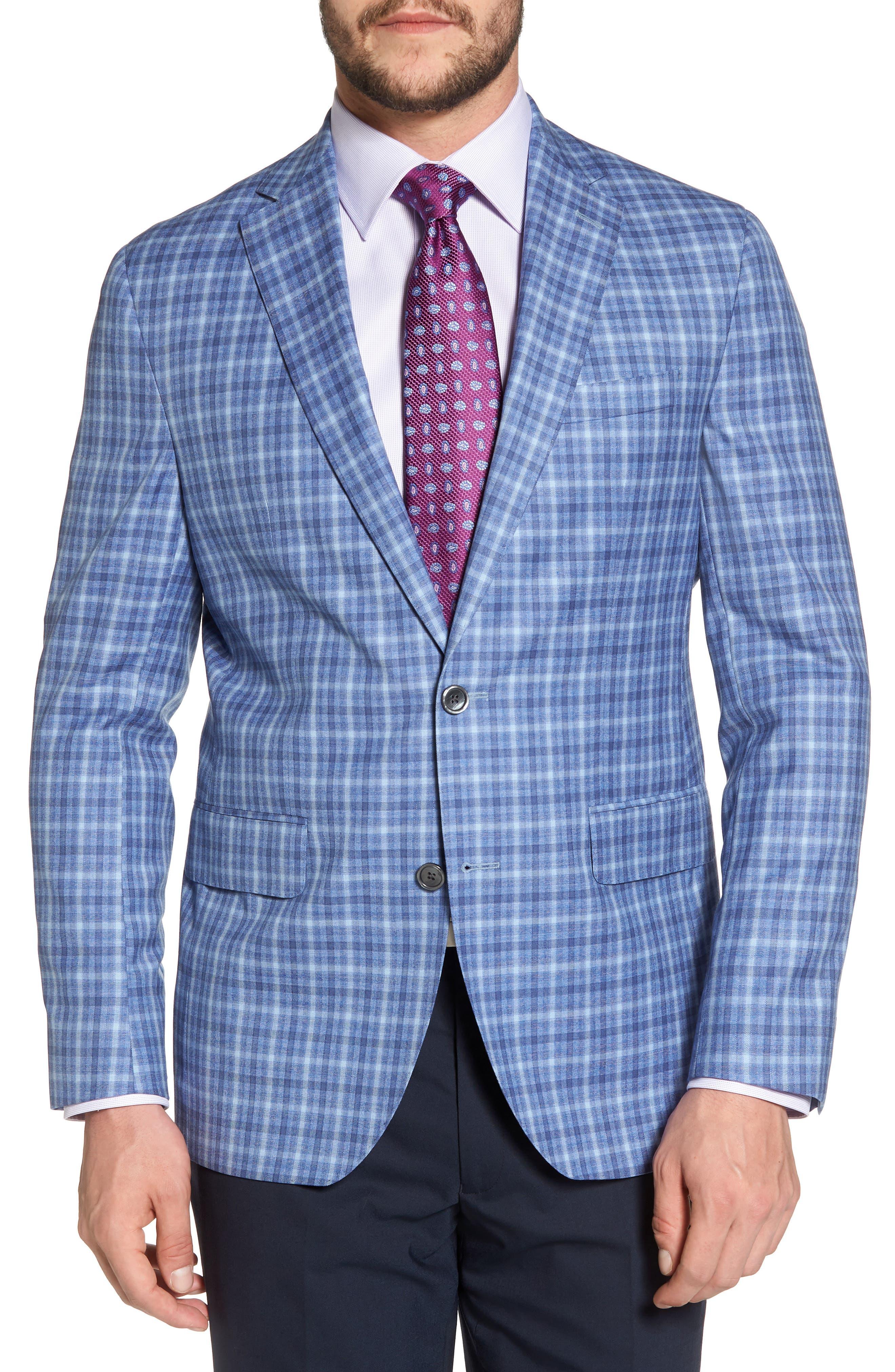 Arnold Classic Fit Plaid Wool Sport Coat,                             Main thumbnail 1, color,                             Blue