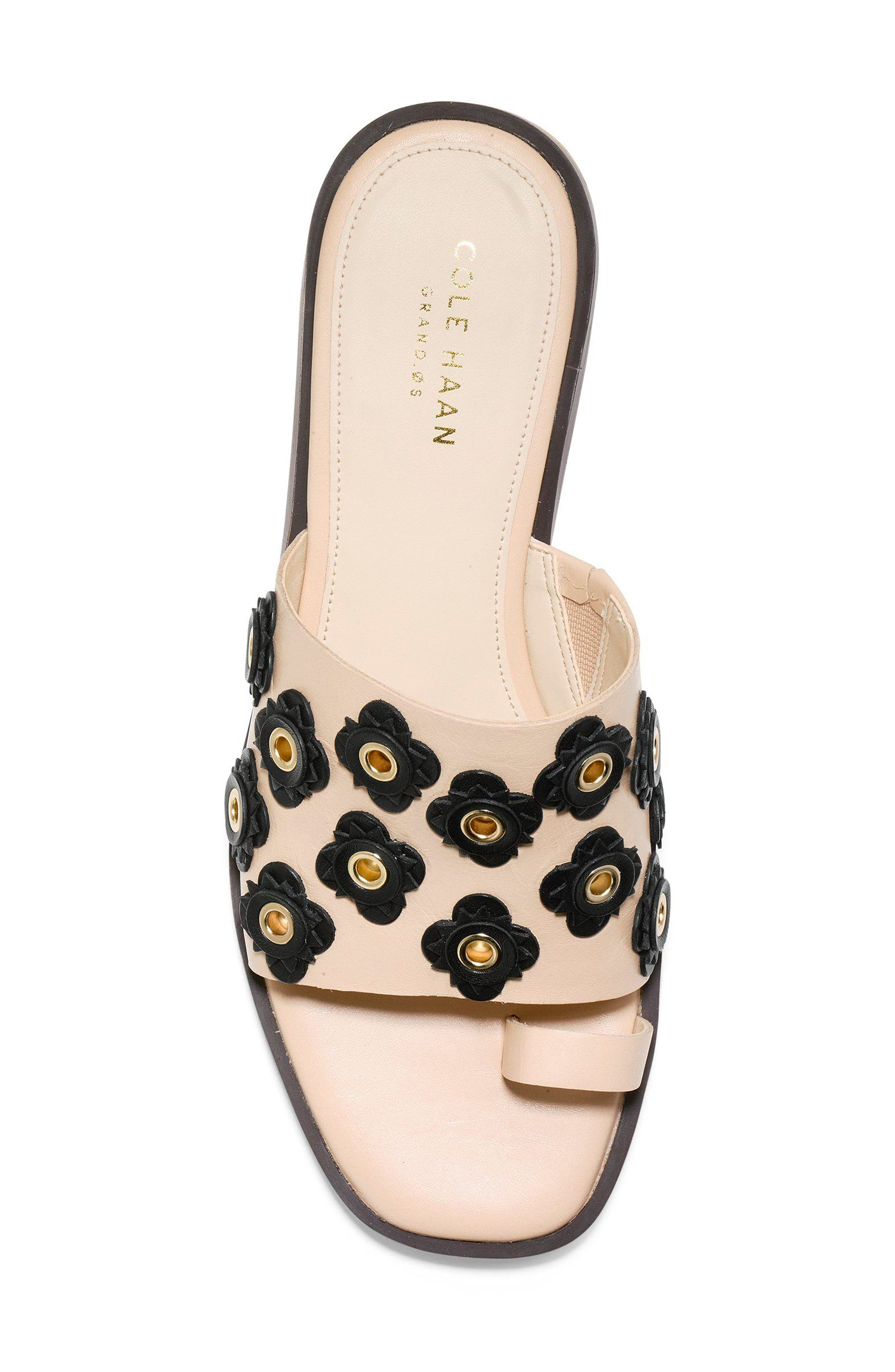 Carly Floral Sandal,                             Alternate thumbnail 5, color,                             Nude/ Black Leather