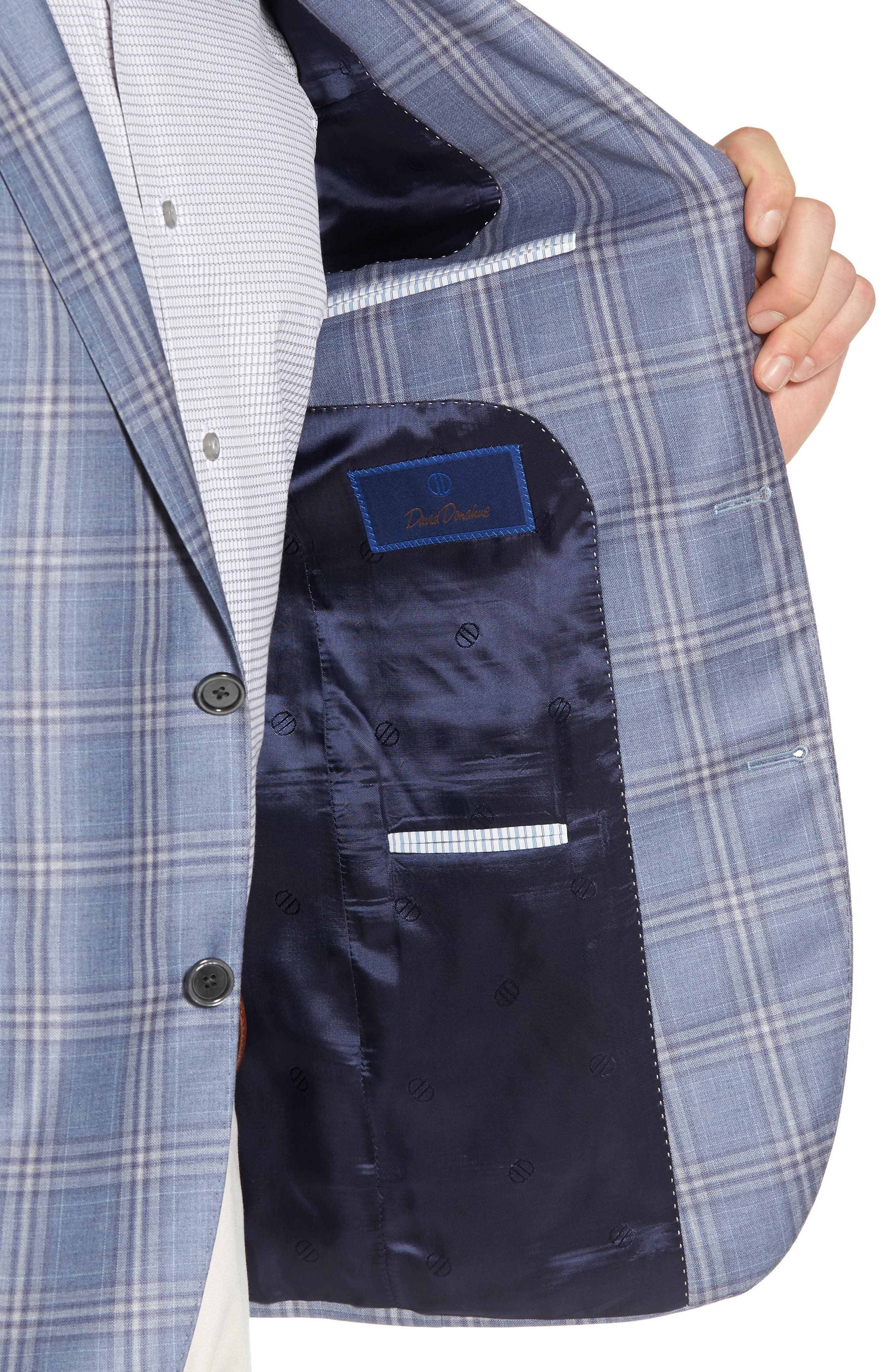 Alternate Image 4  - David Donahue Arnold Classic Fit Plaid Wool Sport Coat