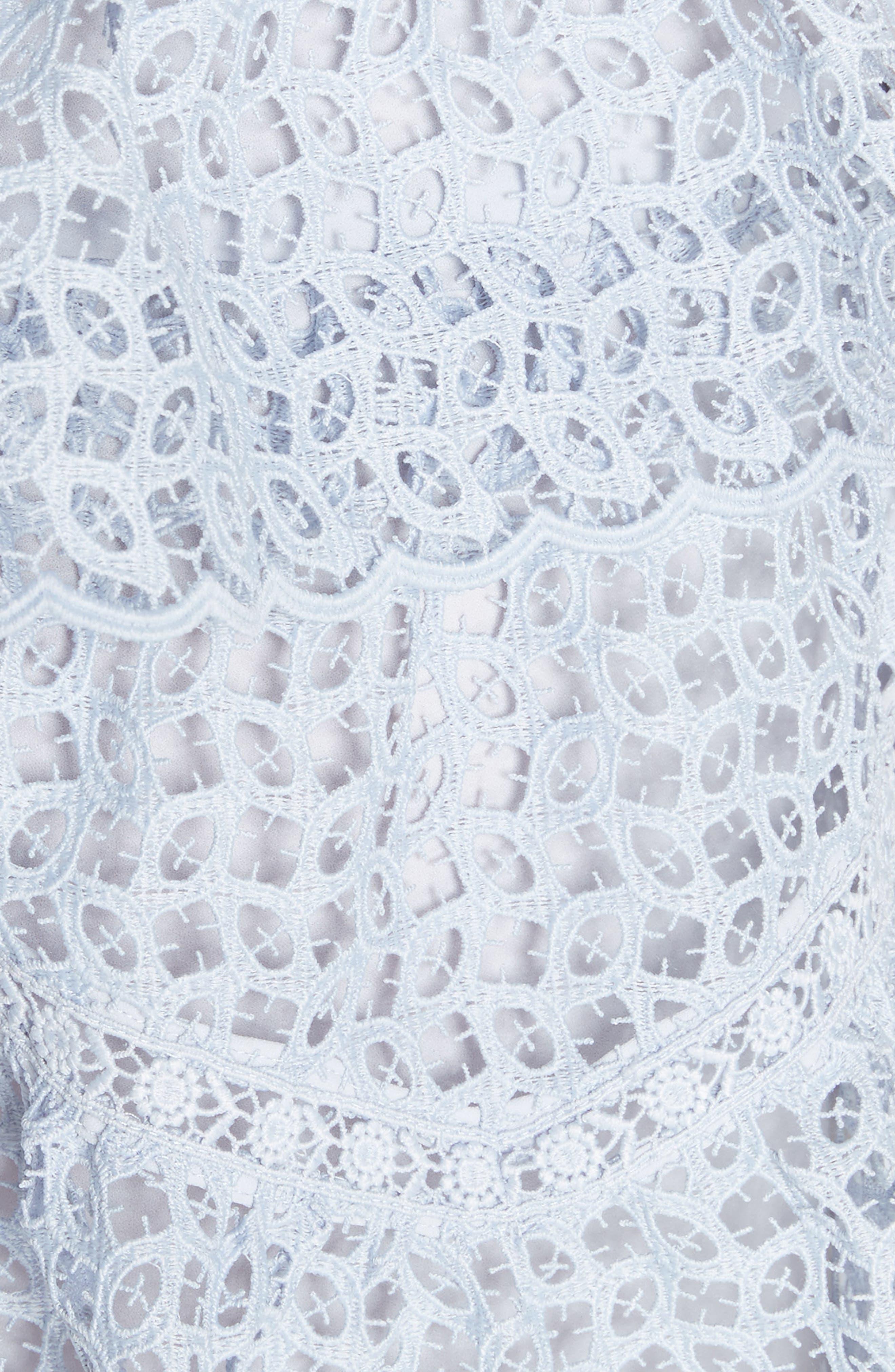 One-Shoulder Cutwork Organza Dress,                             Alternate thumbnail 5, color,                             Pale Blue