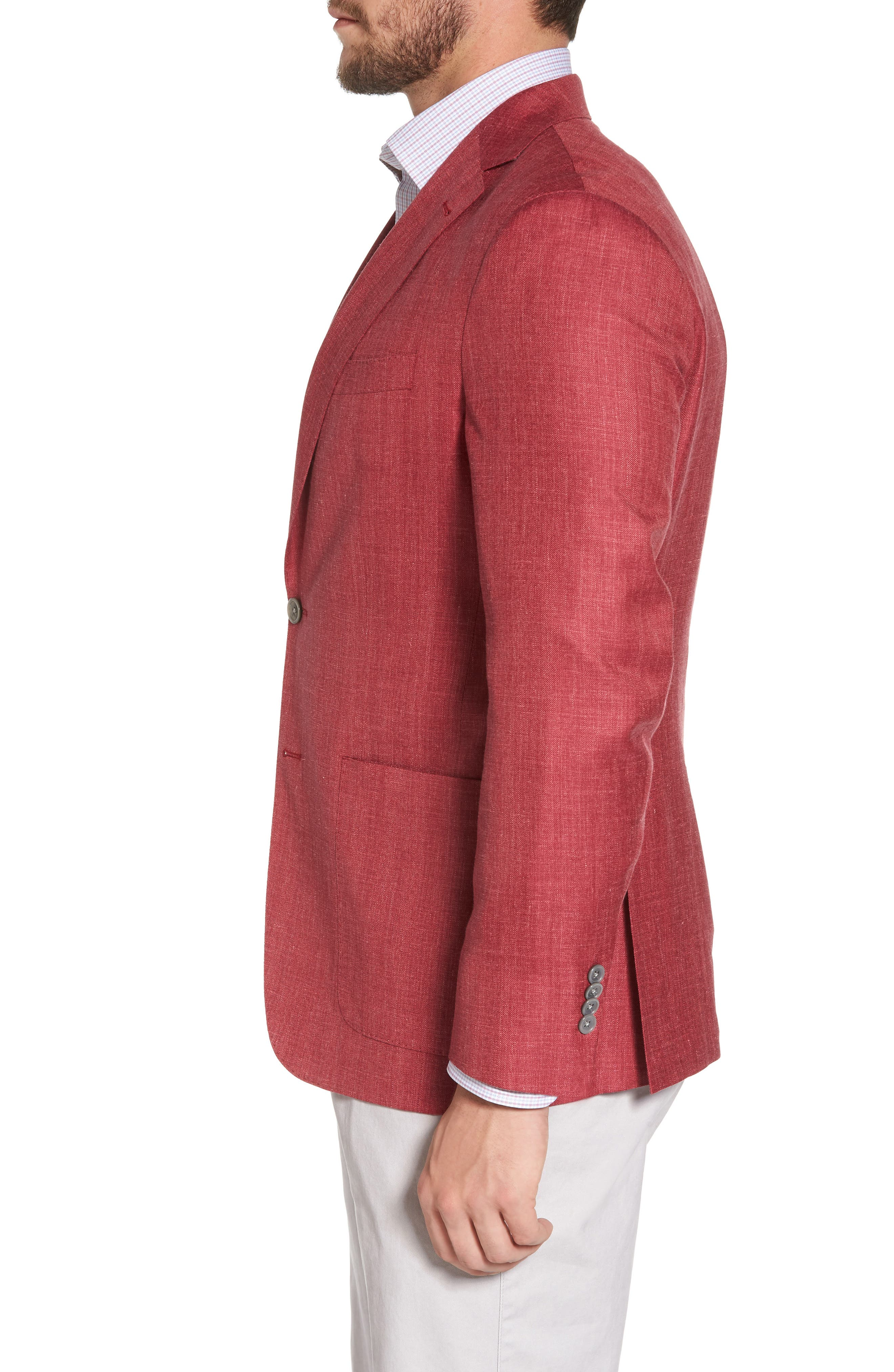 Aiden Classic Fit Wool Blend Blazer,                             Alternate thumbnail 3, color,                             Red