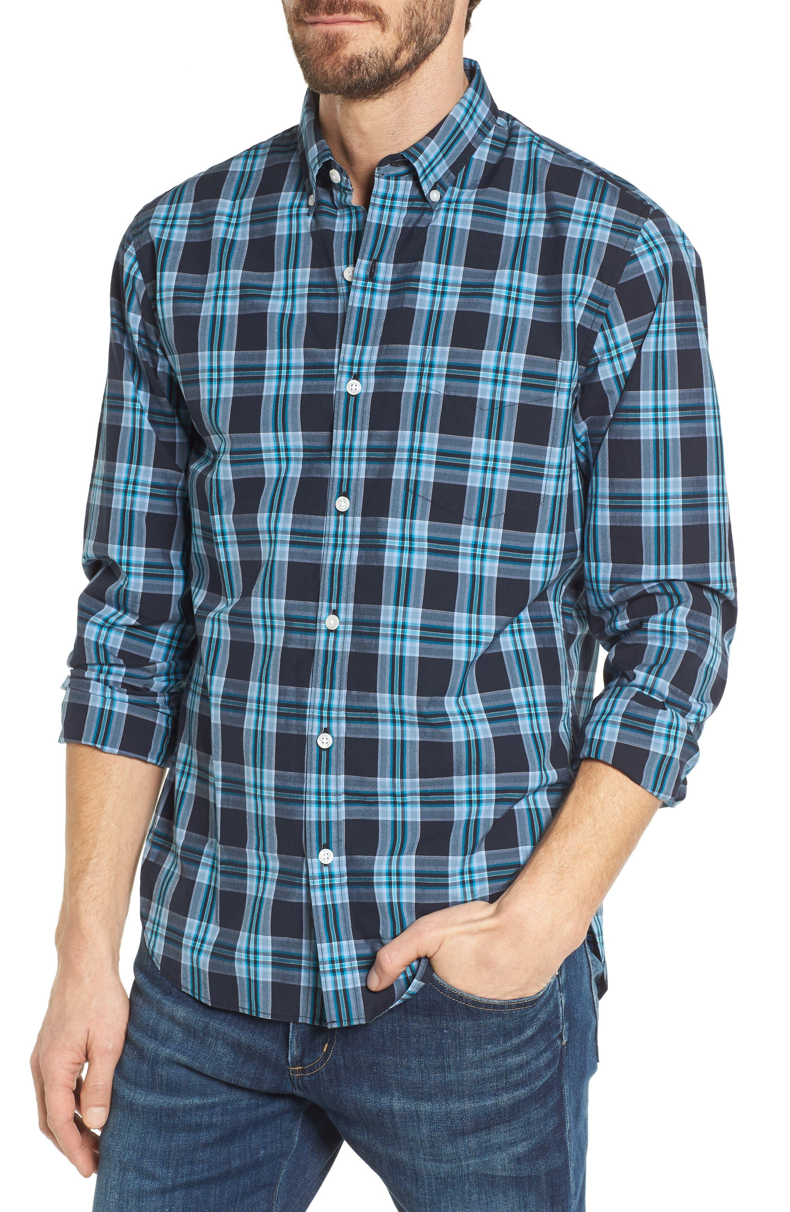 Slim Fit Washed Plaid Sport Shirt,                         Main,                         color, Night Swim