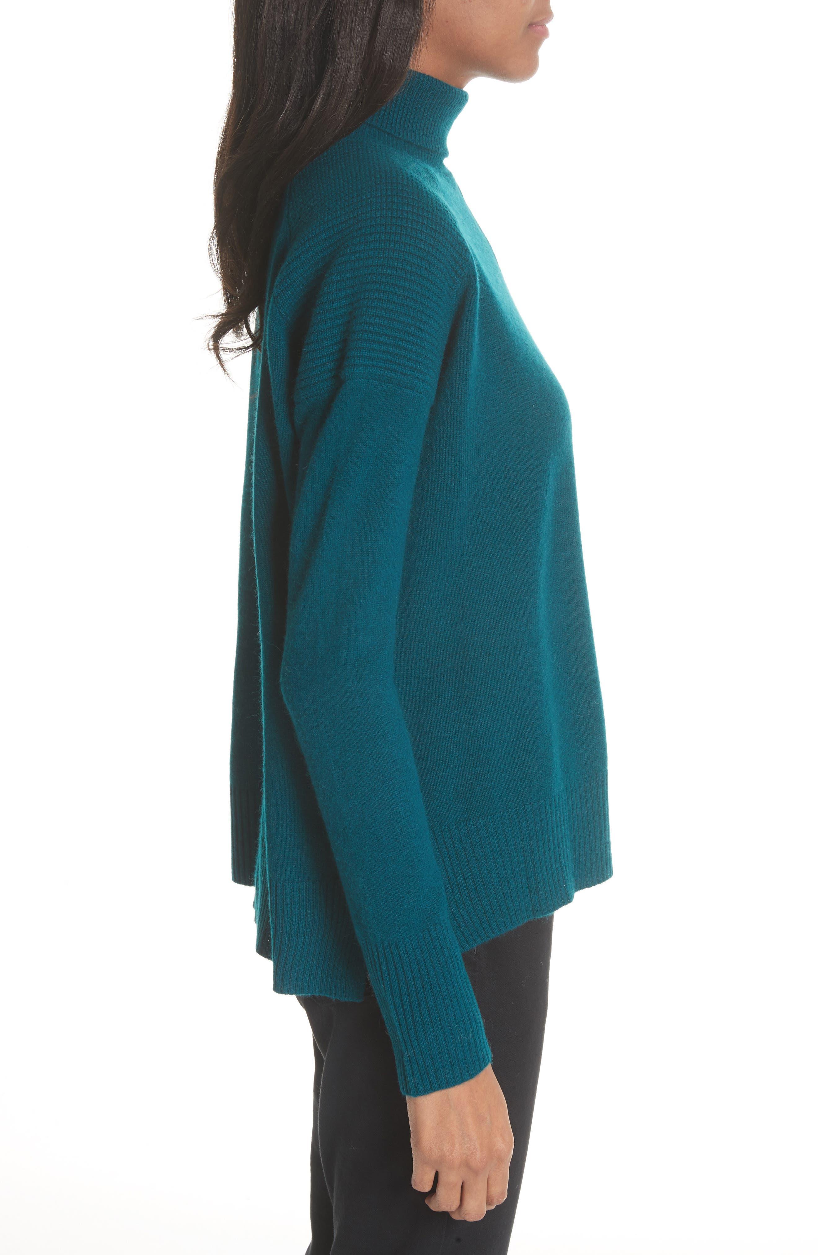 Rolled Turtleneck Cashmere Sweater,                             Alternate thumbnail 3, color,                             Vert