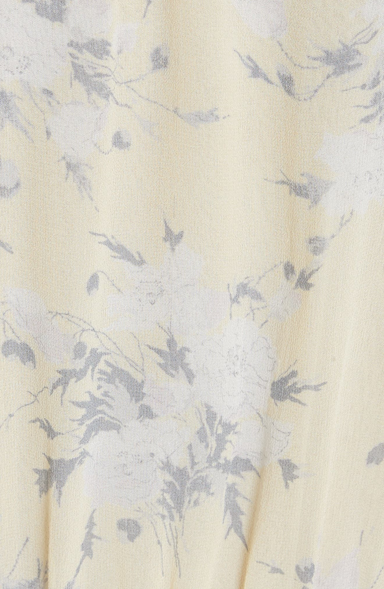 Cold Shoulder Lemon Rose Silk Dress,                             Alternate thumbnail 5, color,                             Lemon Combo