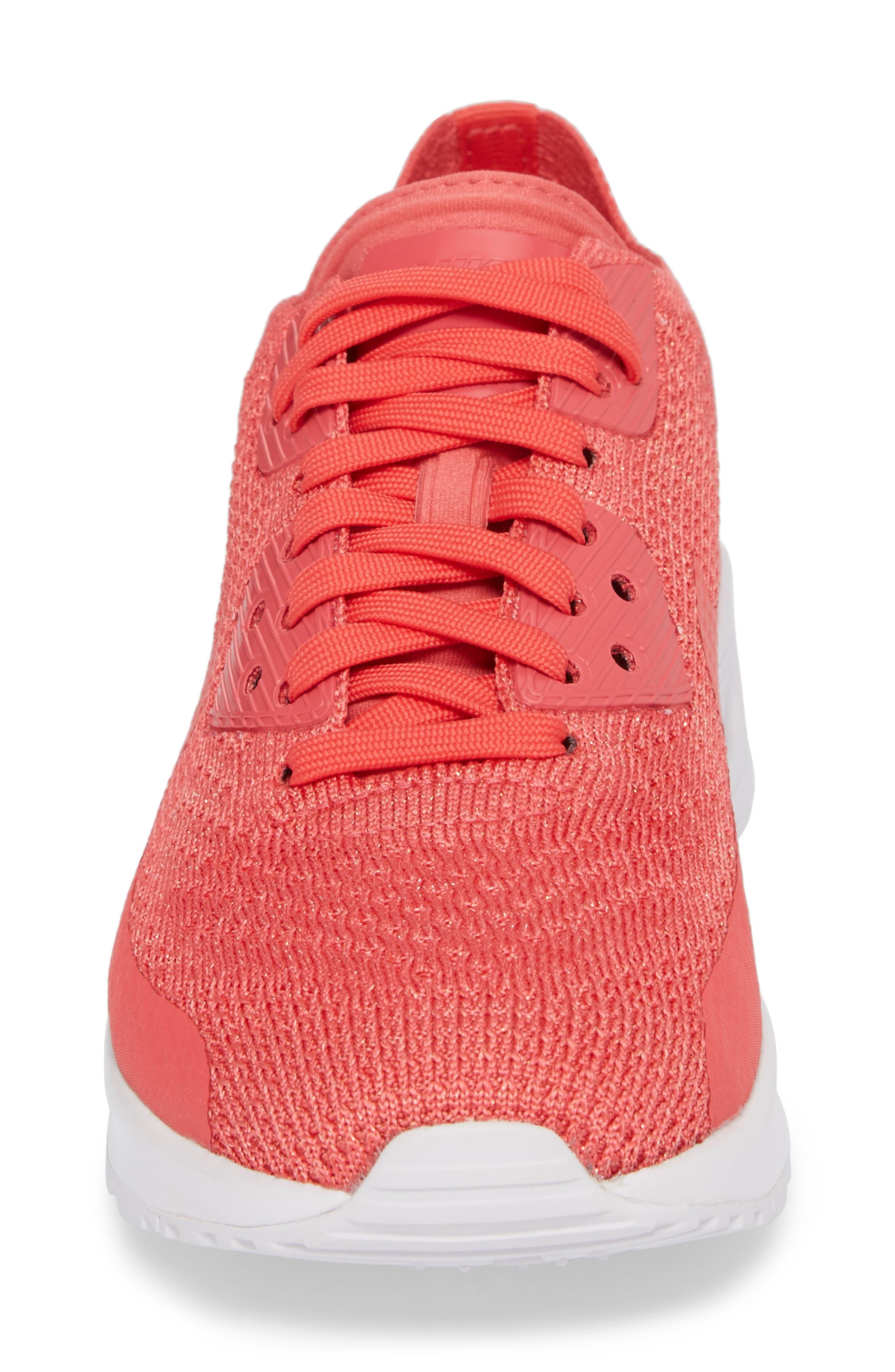 Air Max 90 Flyknit Ultra 2.0 Sneaker,                             Alternate thumbnail 4, color,                             Geranium/ Geranium