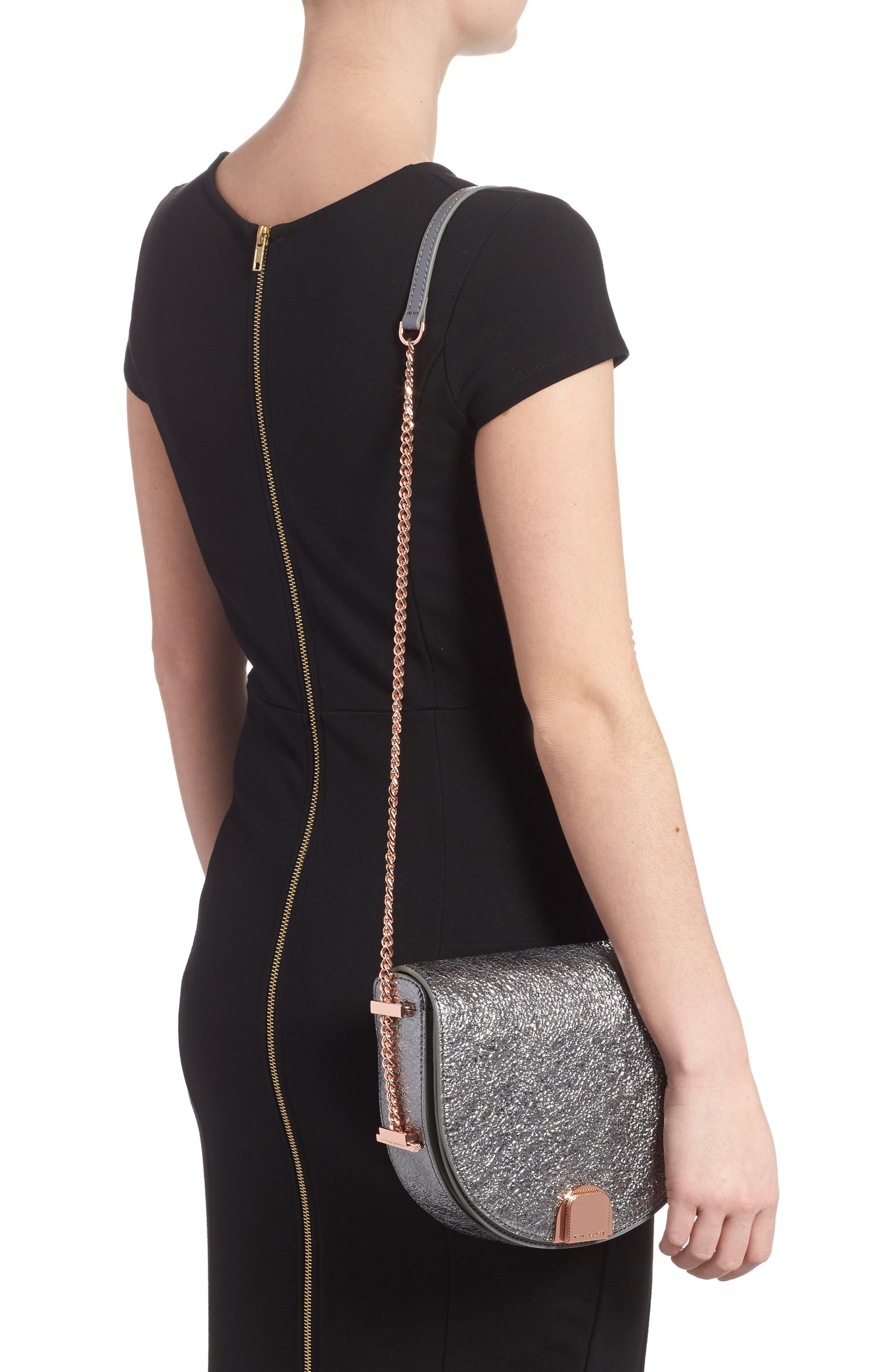Half Moon Metallic Leather Crossbody Bag,                             Alternate thumbnail 2, color,                             Gunmetal