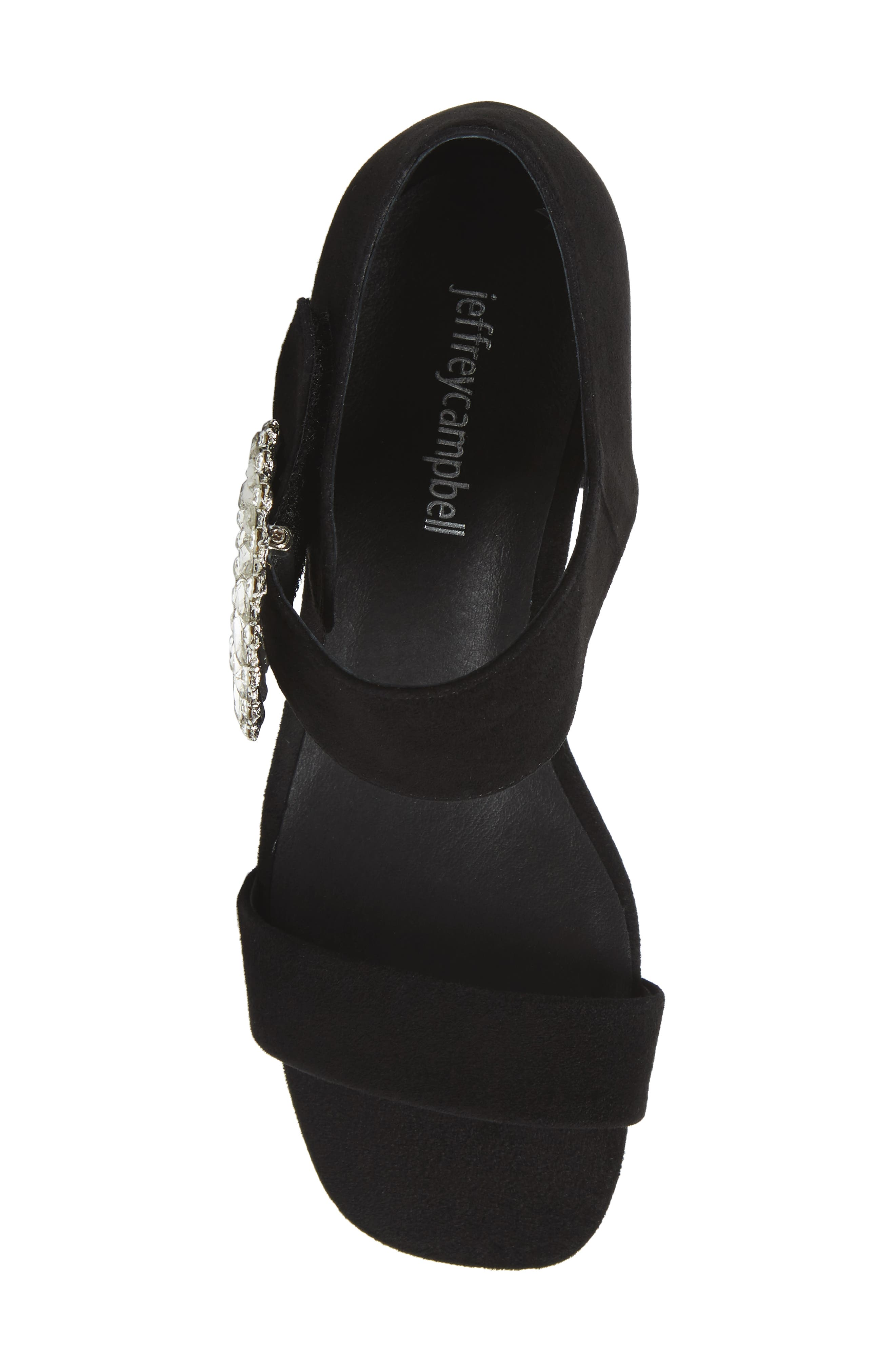 Kaylene Crystal Embellished Sandal,                             Alternate thumbnail 5, color,                             Black/ Silver Suede