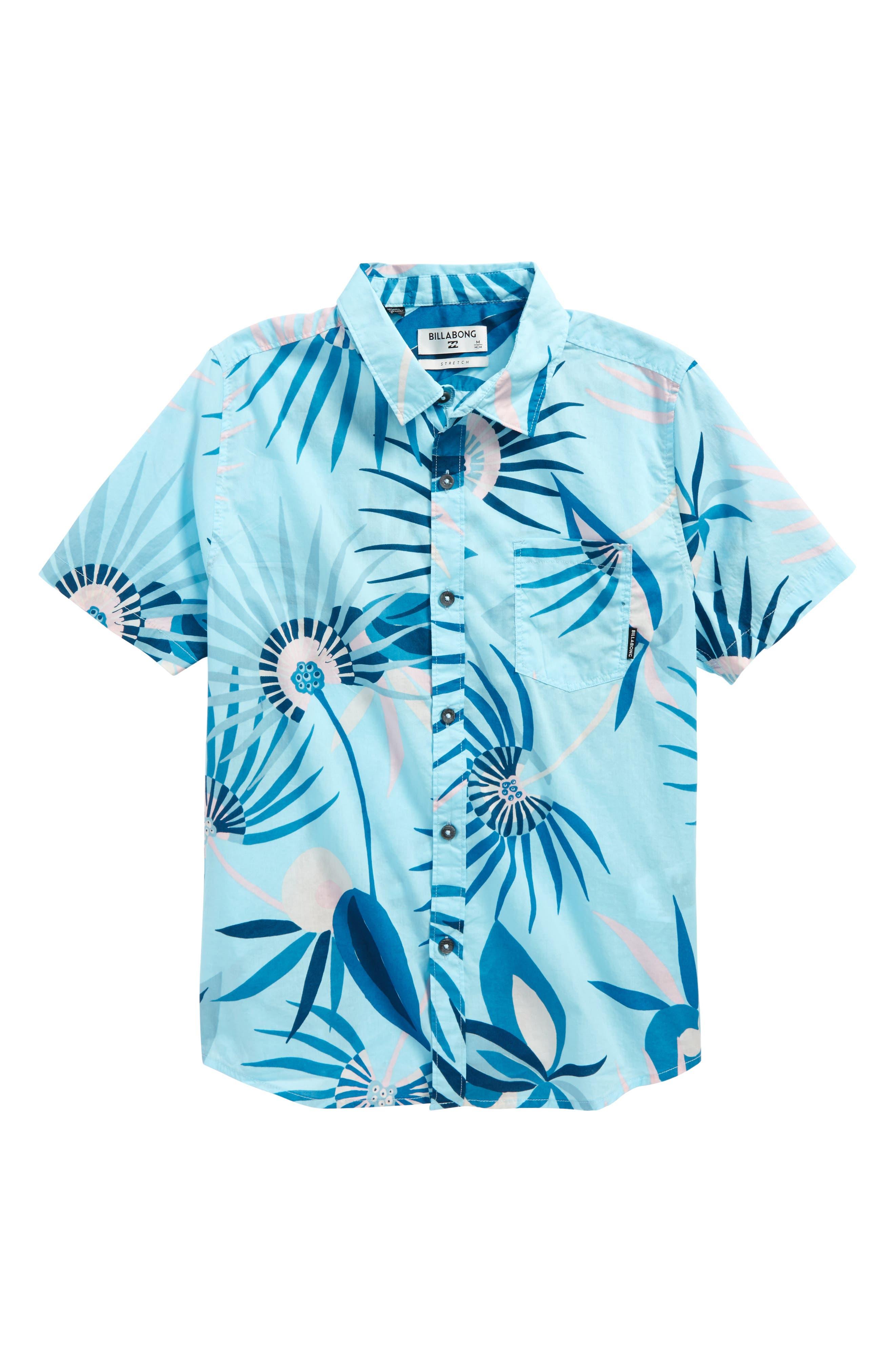 Sunday Floral Print Shirt,                             Main thumbnail 1, color,                             Blue