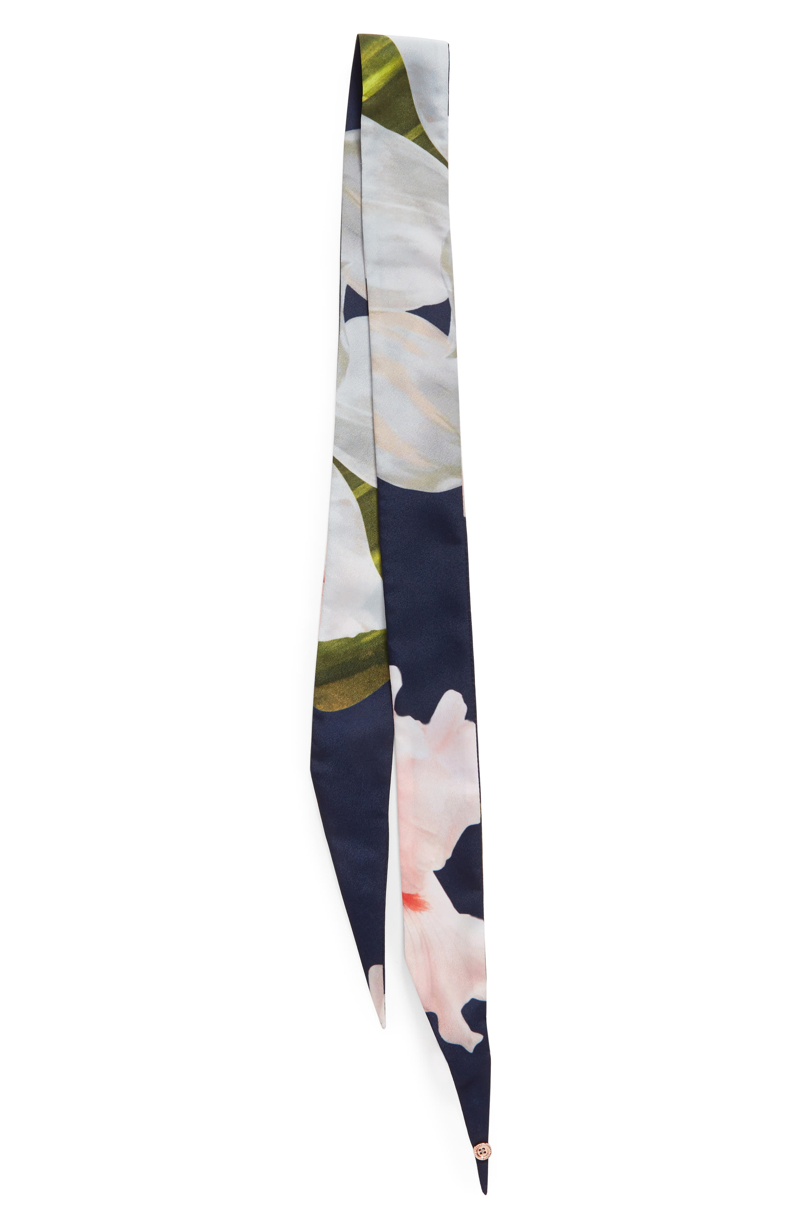 Chatsworth Bloom Skinny Scarf,                             Alternate thumbnail 3, color,                             Navy
