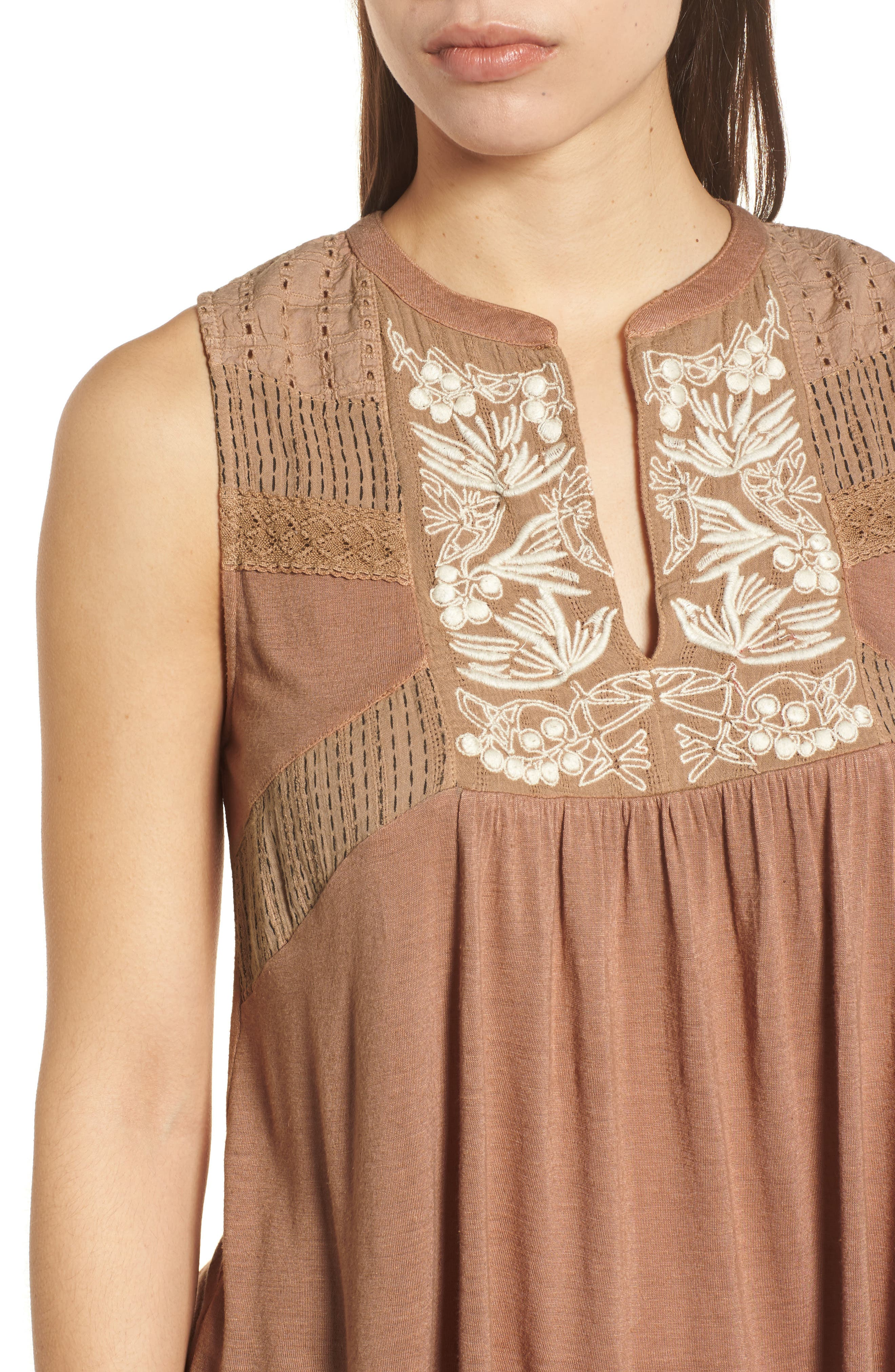 Embroidered Shell,                             Alternate thumbnail 4, color,                             Toffee Blush