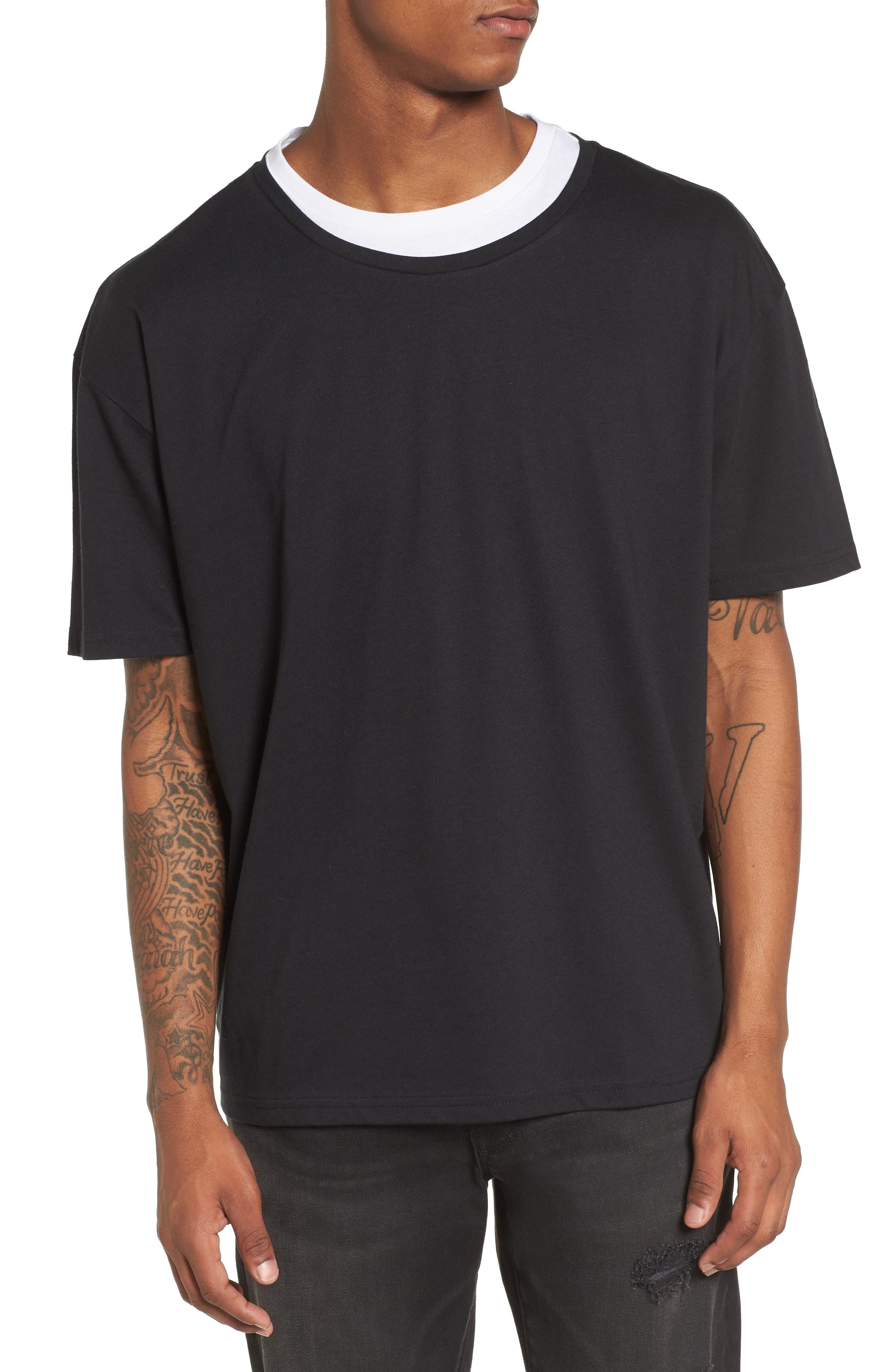Double Layer T-Shirt,                         Main,                         color, Black/ White