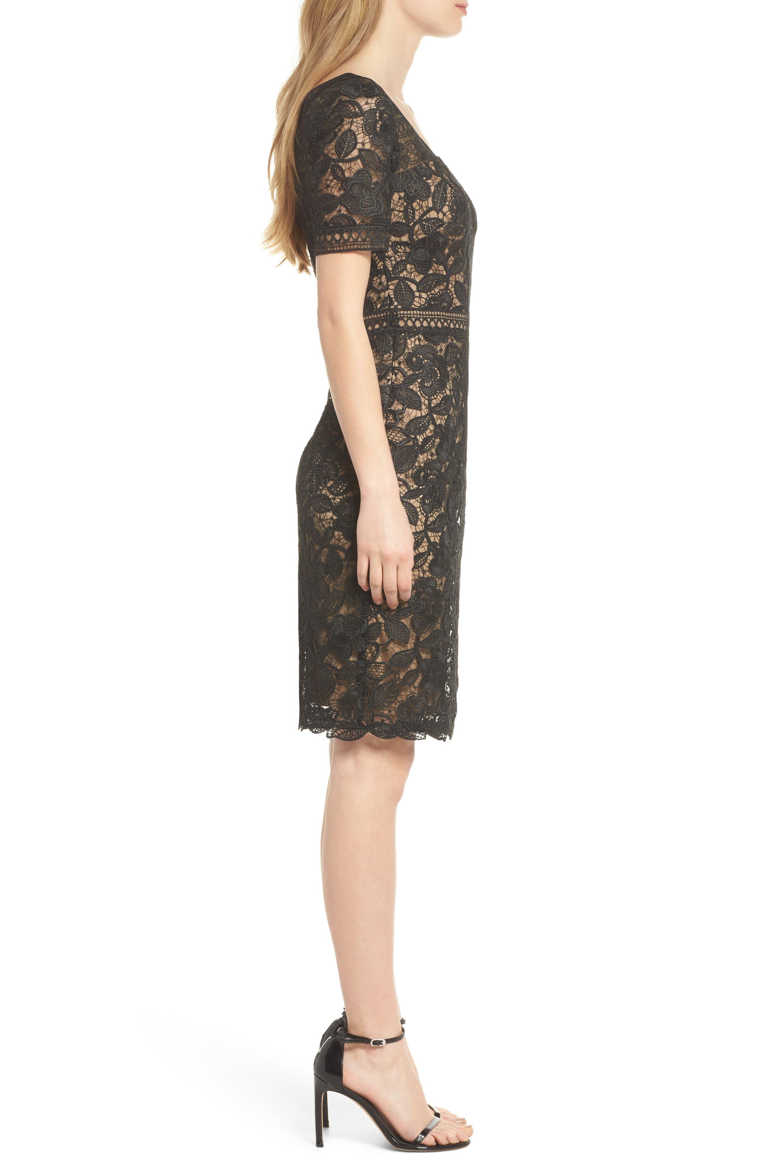 V-Neck Lace Sheath Dress,                             Alternate thumbnail 3, color,                             Black/ Nude