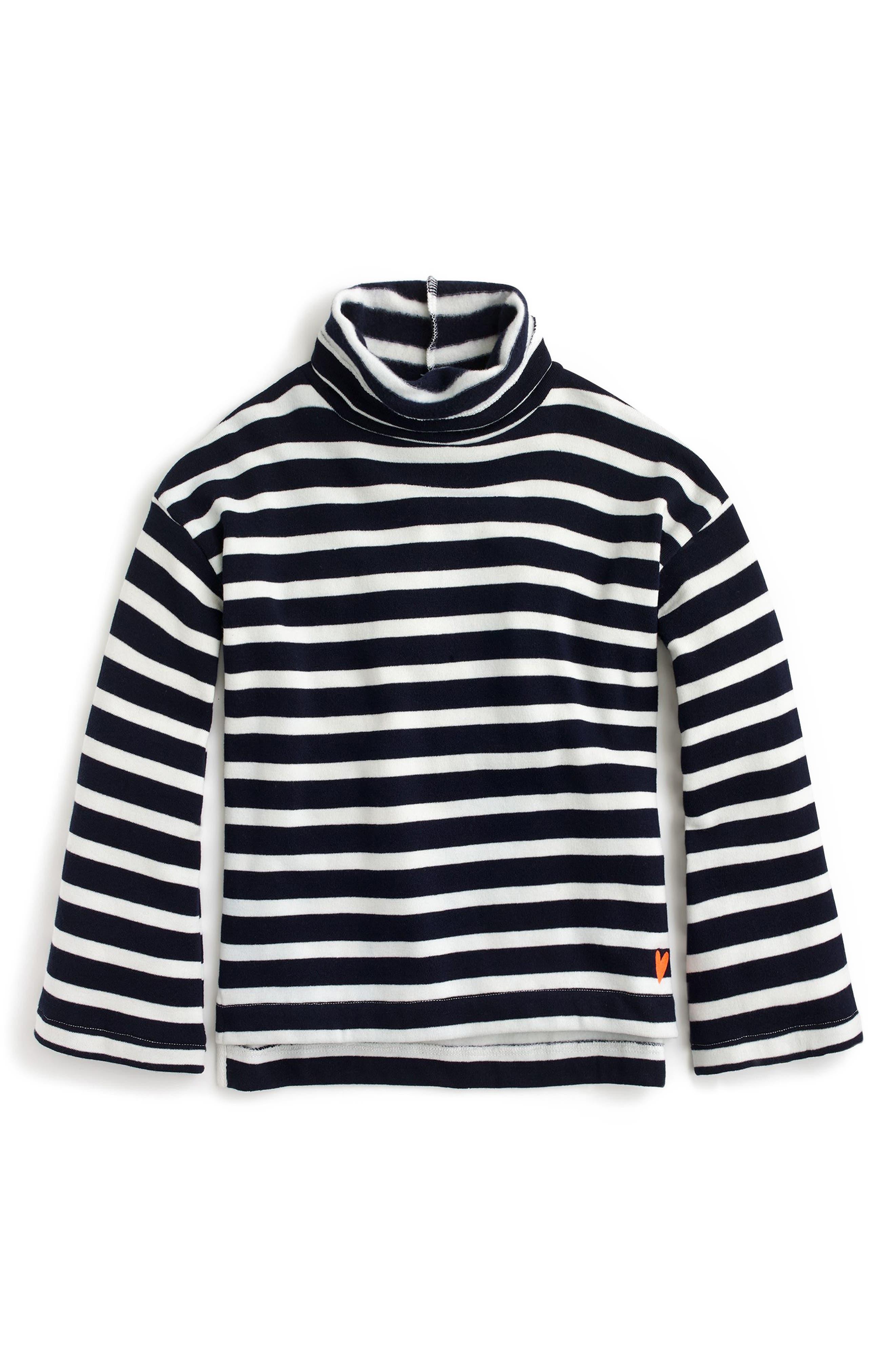 Stripe Drop Shoulder Turtleneck,                             Main thumbnail 1, color,                             Navy/ Ivory