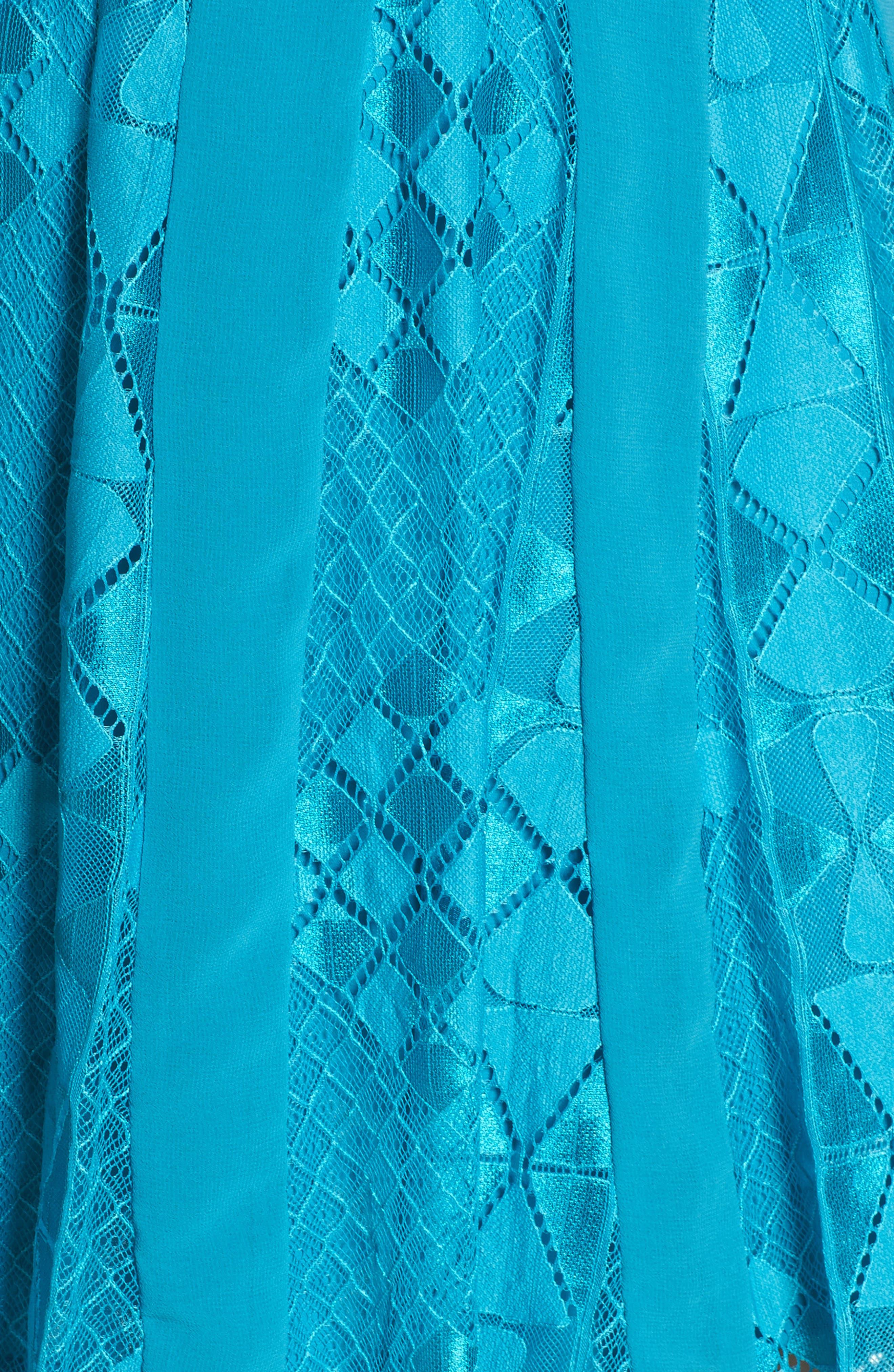 Calla Geometric Lace Dress,                             Alternate thumbnail 5, color,                             Light Blue