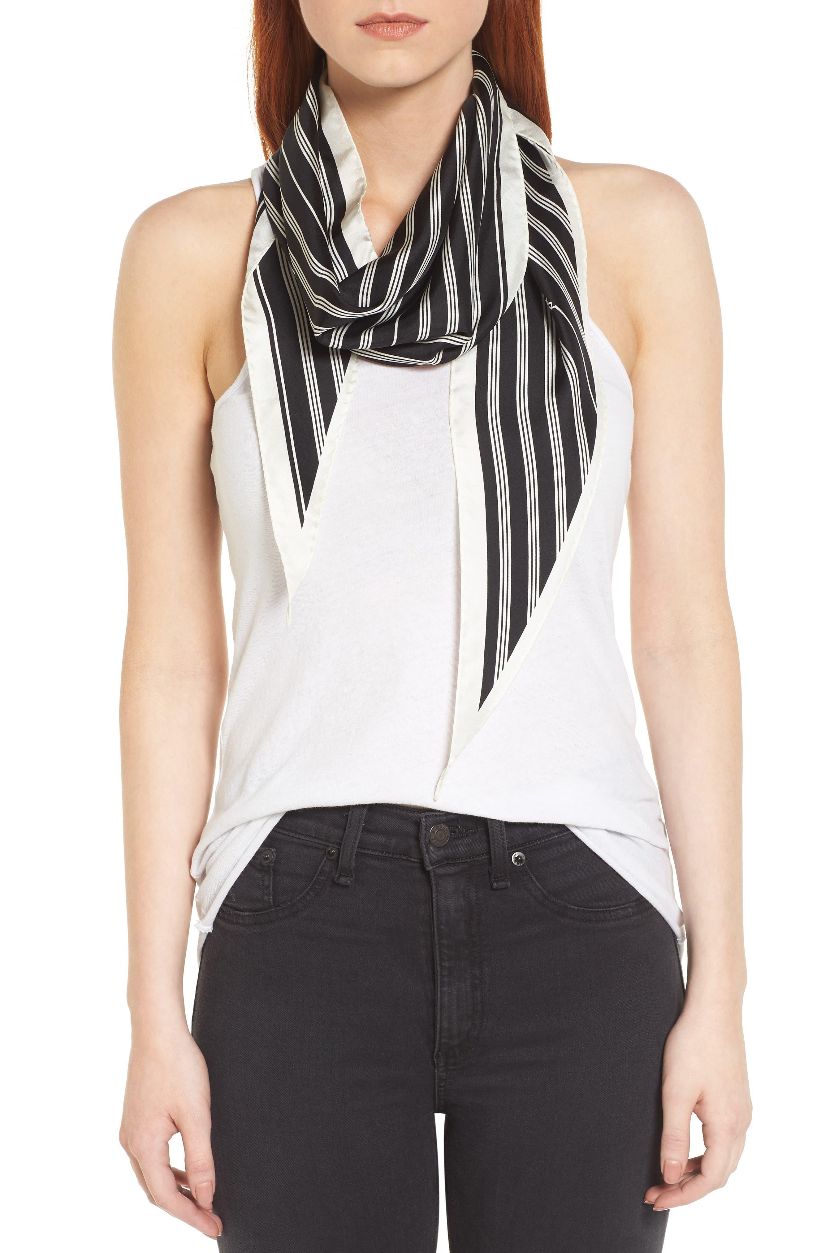 Narrow Stripe Silk Scarf,                             Main thumbnail 1, color,                             Black