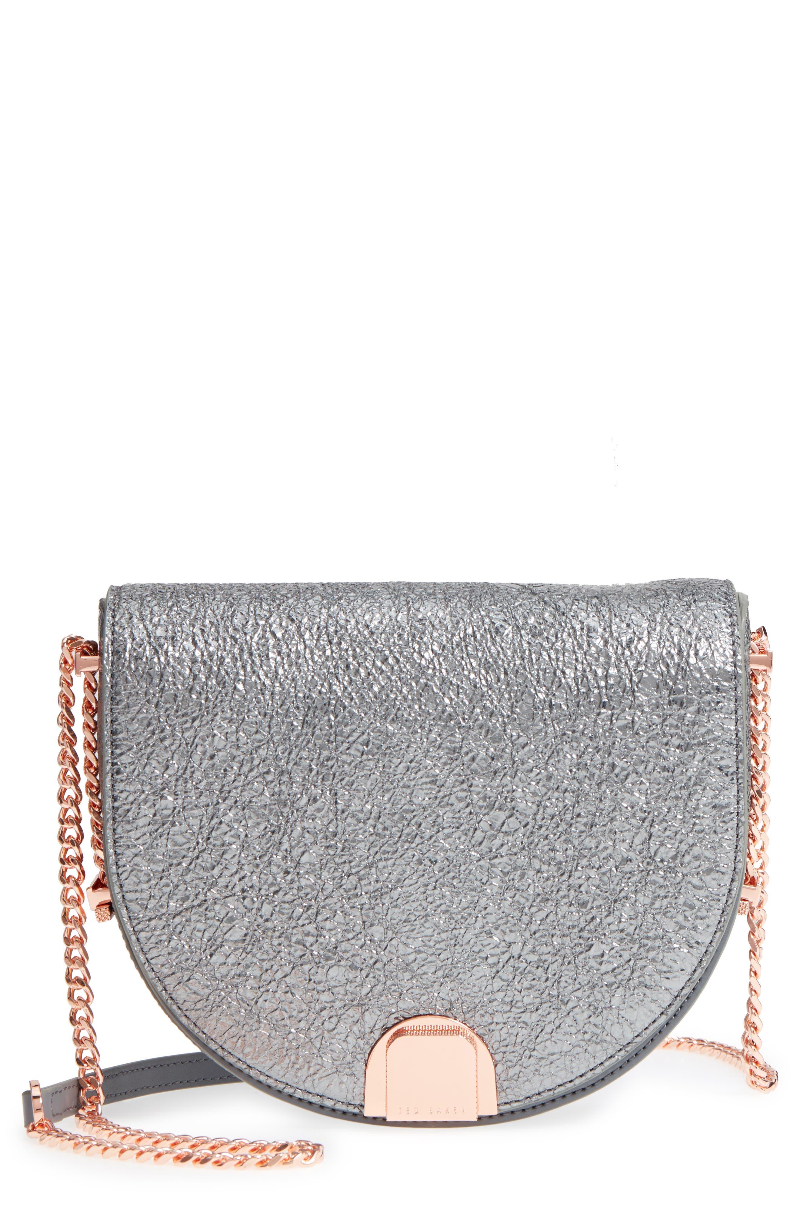 Half Moon Metallic Leather Crossbody Bag,                             Main thumbnail 1, color,                             Gunmetal