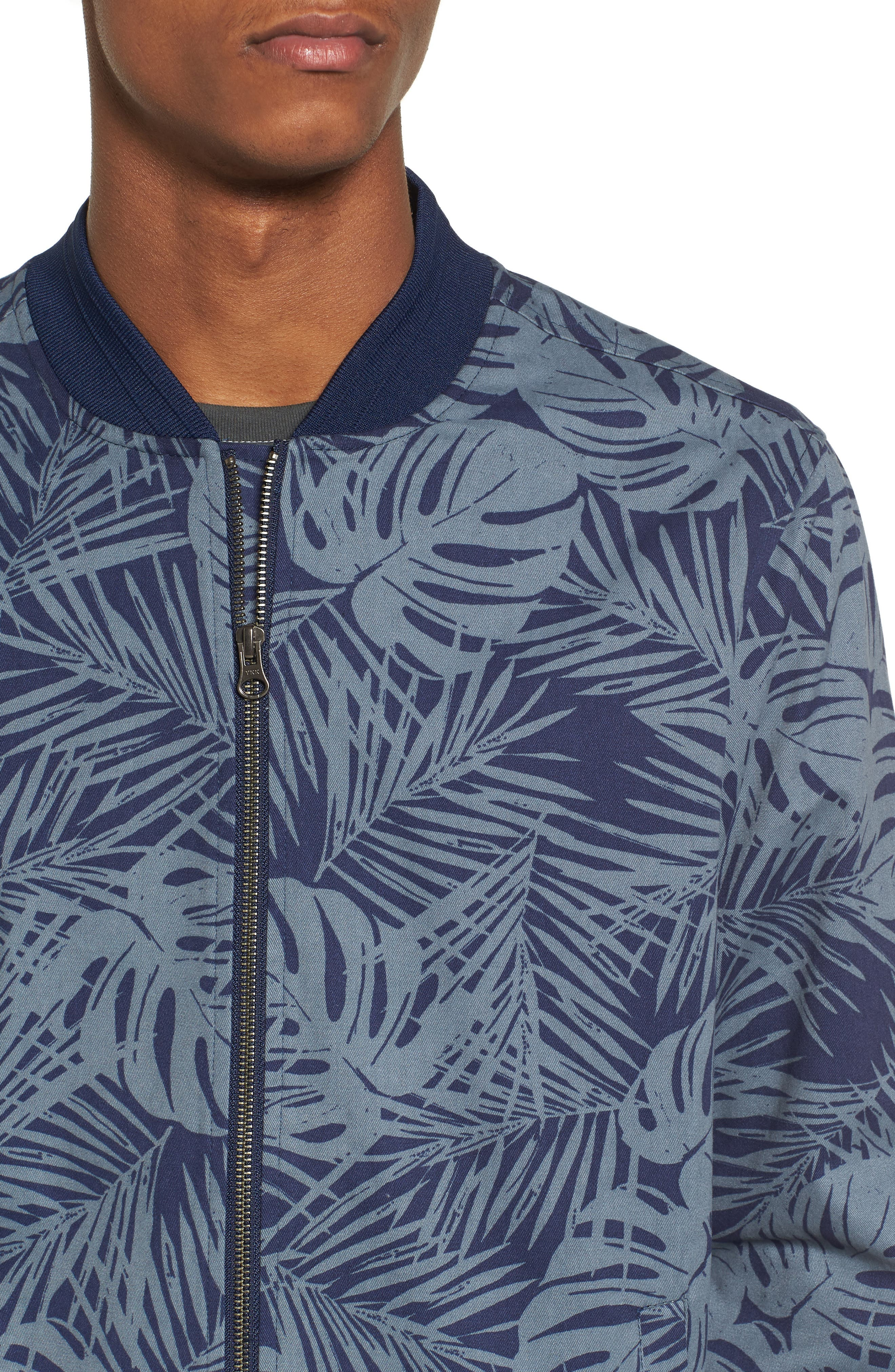 Print Bomber Jacket,                             Alternate thumbnail 4, color,                             Navy Peacoat Grey Palms