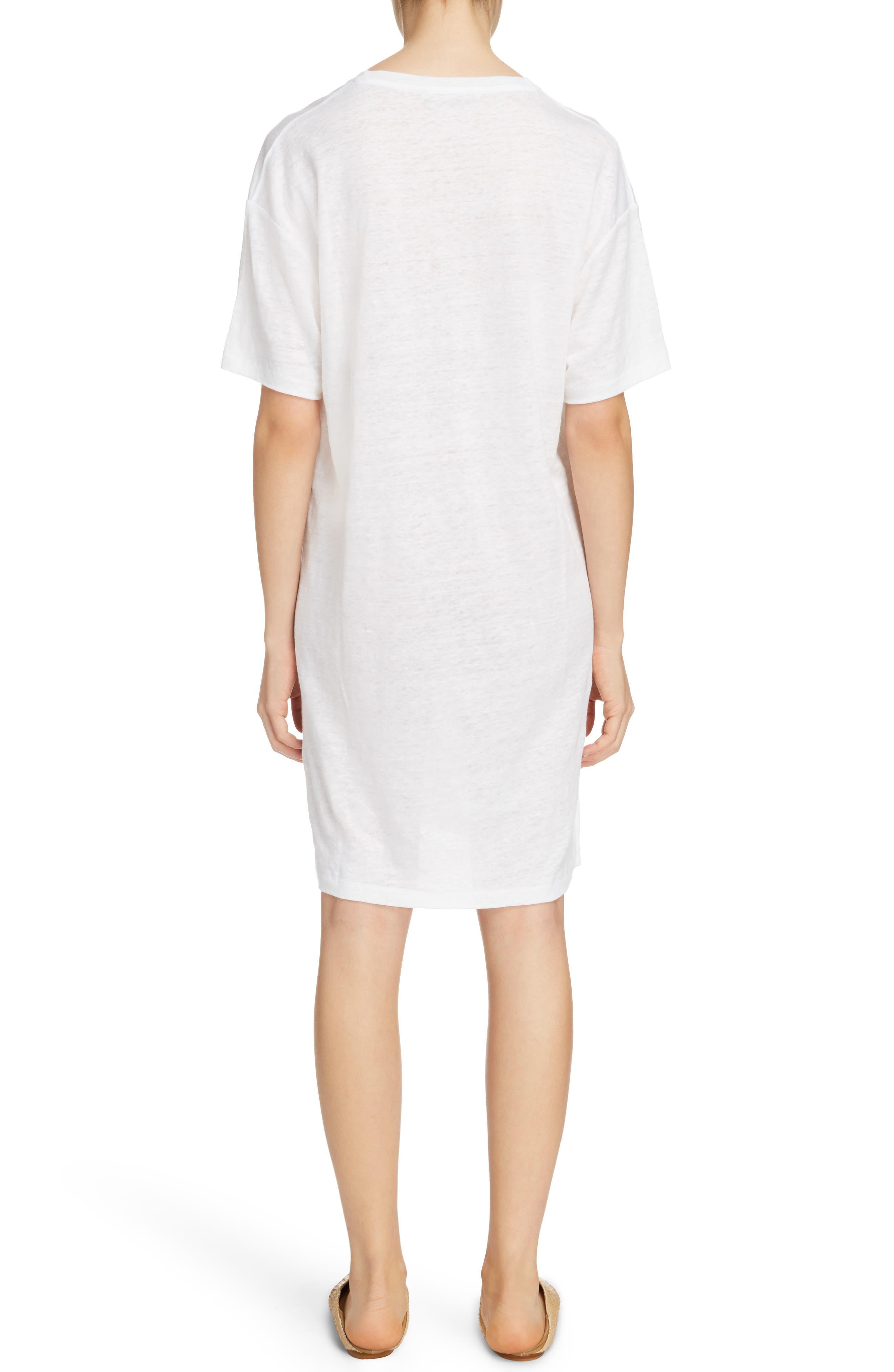 Saga Linen T-Shirt Dress,                             Alternate thumbnail 2, color,                             Optic White