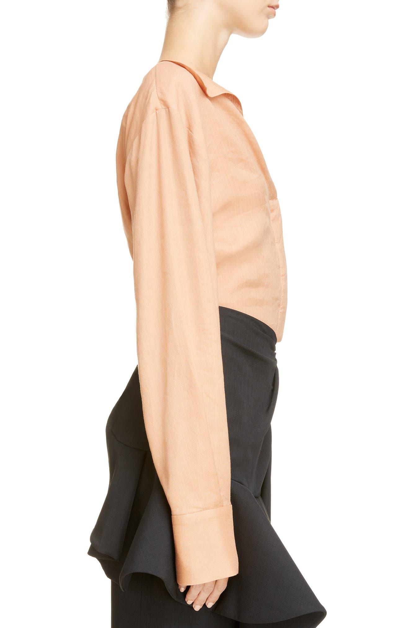 Alternate Image 3  - Jacquemus la Chemise Pleated Cuff Linen Blend Blouse