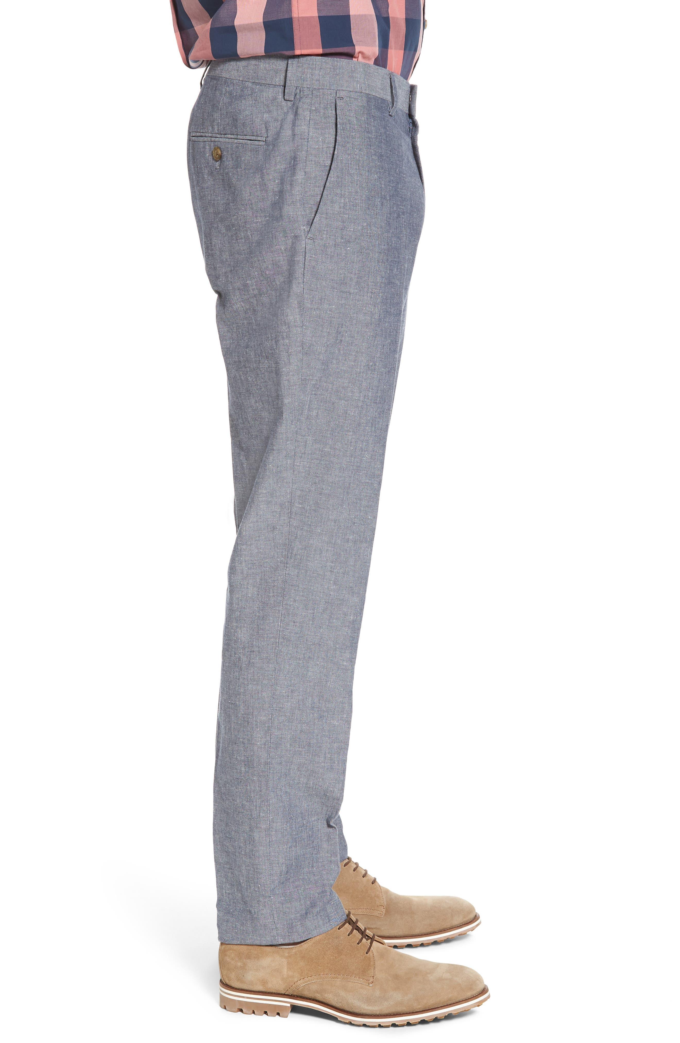 Ludlow Trim Fit Cotton & Linen Suit Pants,                             Alternate thumbnail 3, color,                             Deep Water Blue