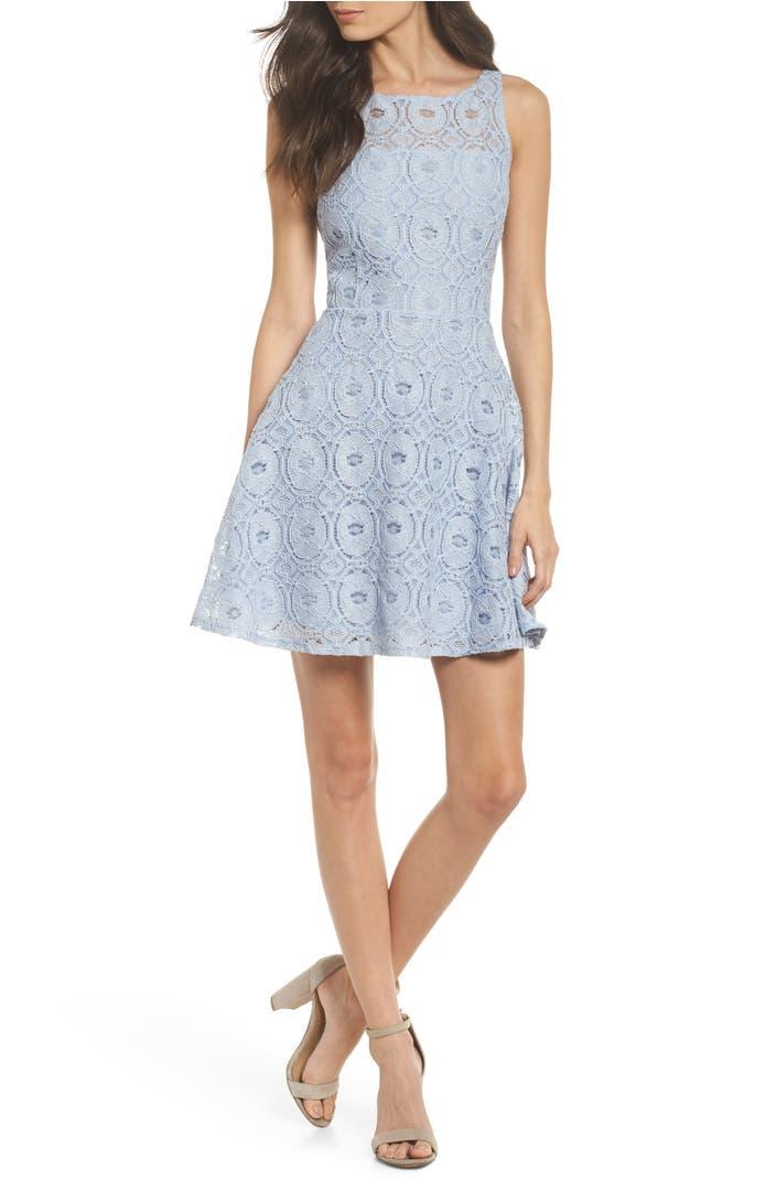 Bb Dakota Renley Lace Fit Amp Flare Dress Nordstrom