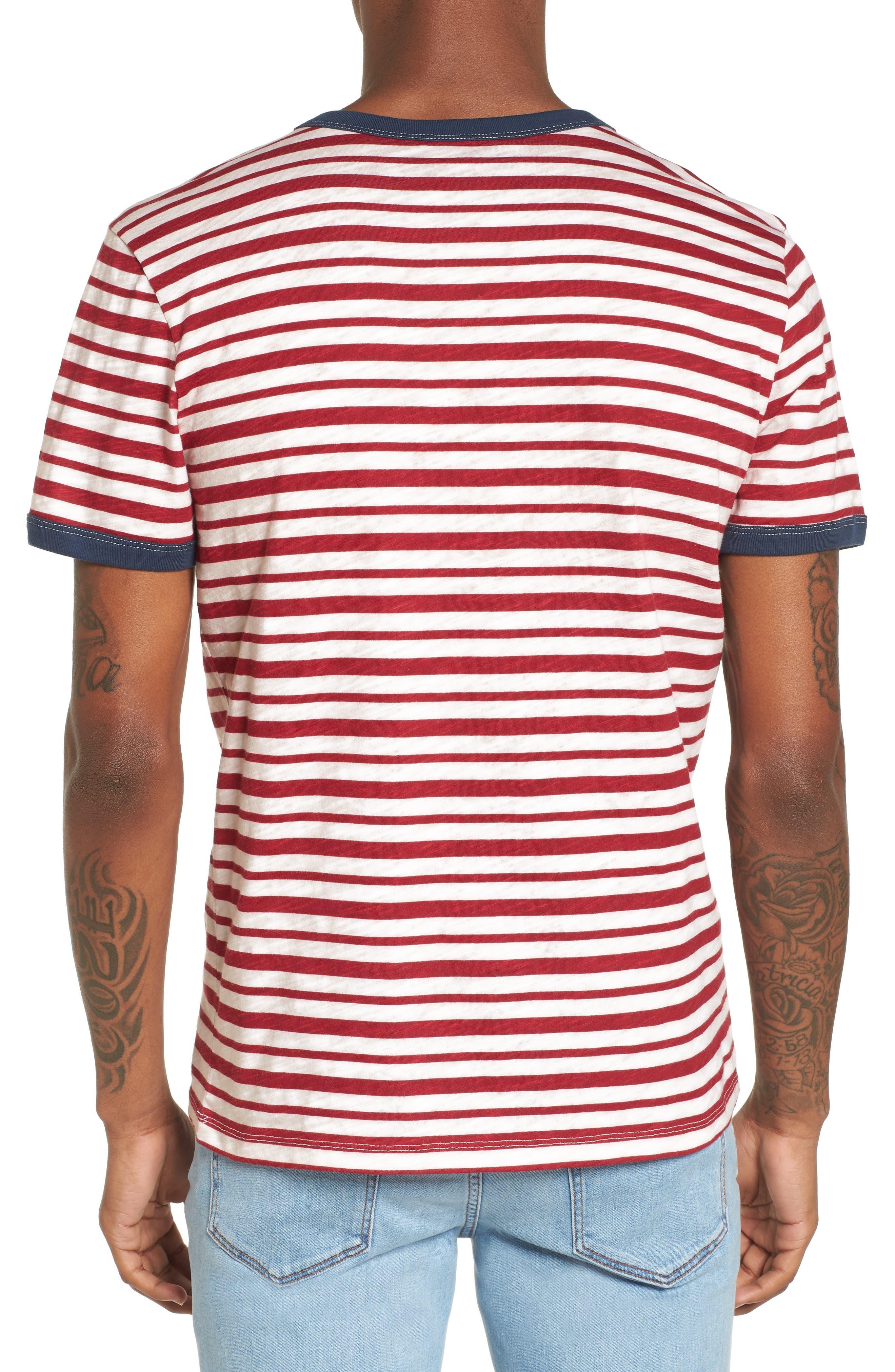 Slub Stripe Ringer T-Shirt,                             Alternate thumbnail 2, color,                             Ivory Red Stripe
