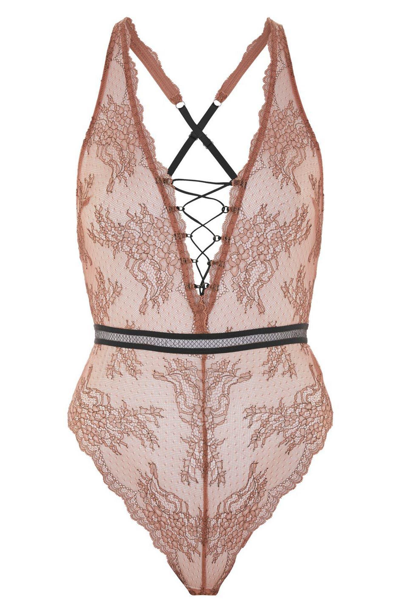 Main Image - Topshop Lila Lace-Up Bodysuit