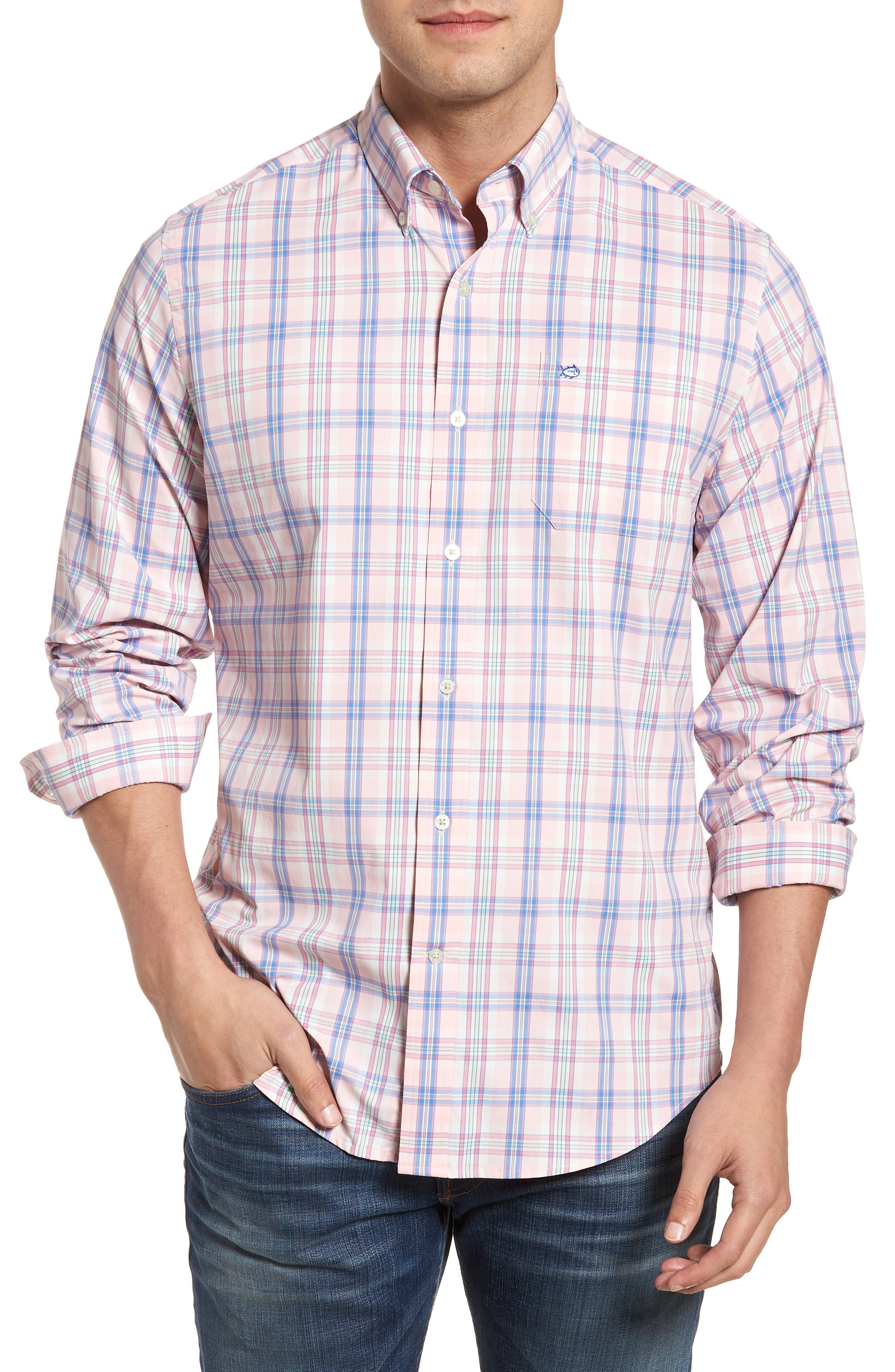 Main Image - Southern Tide Great Harbor Regular Fit Plaid Stretch Sport Shirt