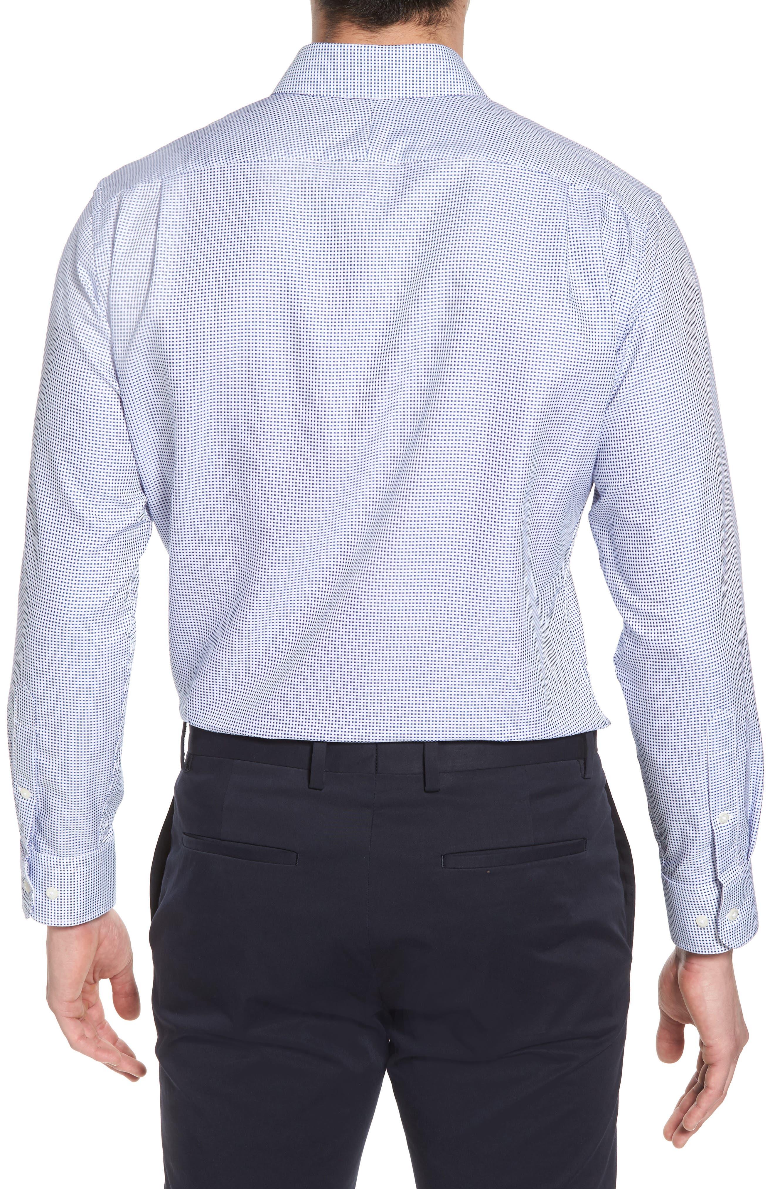 Trim Fit Microcheck Dress Shirt,                             Alternate thumbnail 3, color,                             Blue Surf