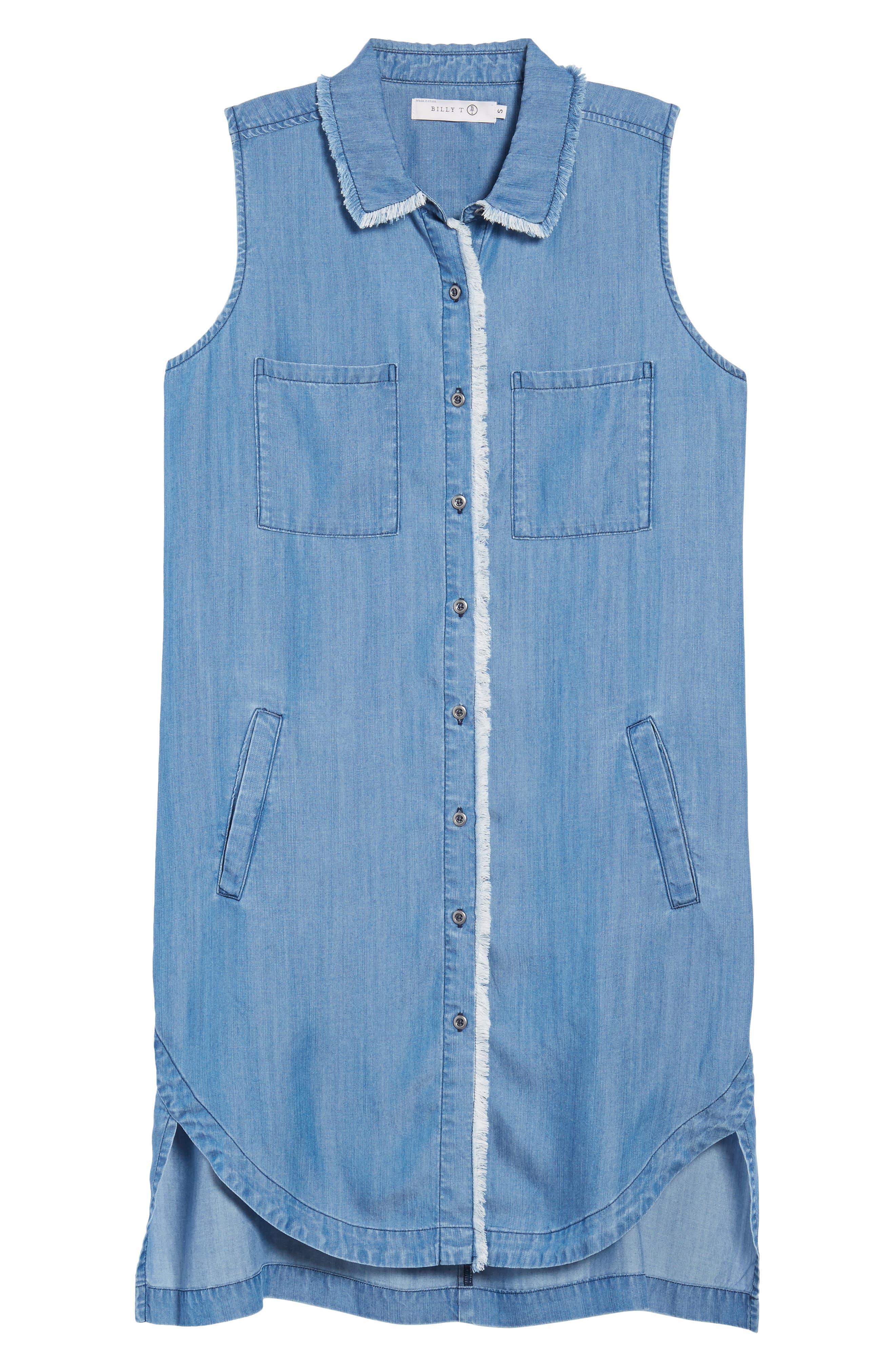 Sleeveless Back Cutout Shirtdress,                             Alternate thumbnail 6, color,                             Blue