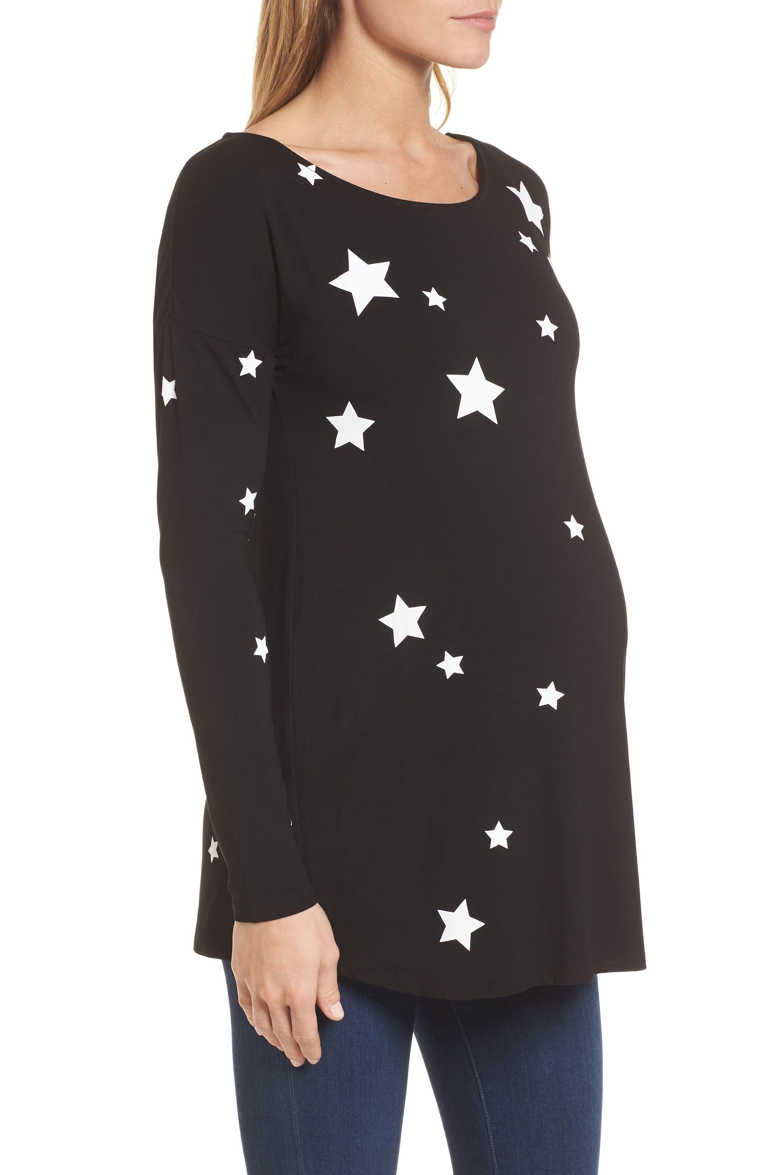 Rosie Maternity Tee,                             Alternate thumbnail 3, color,                             Black/White Stars