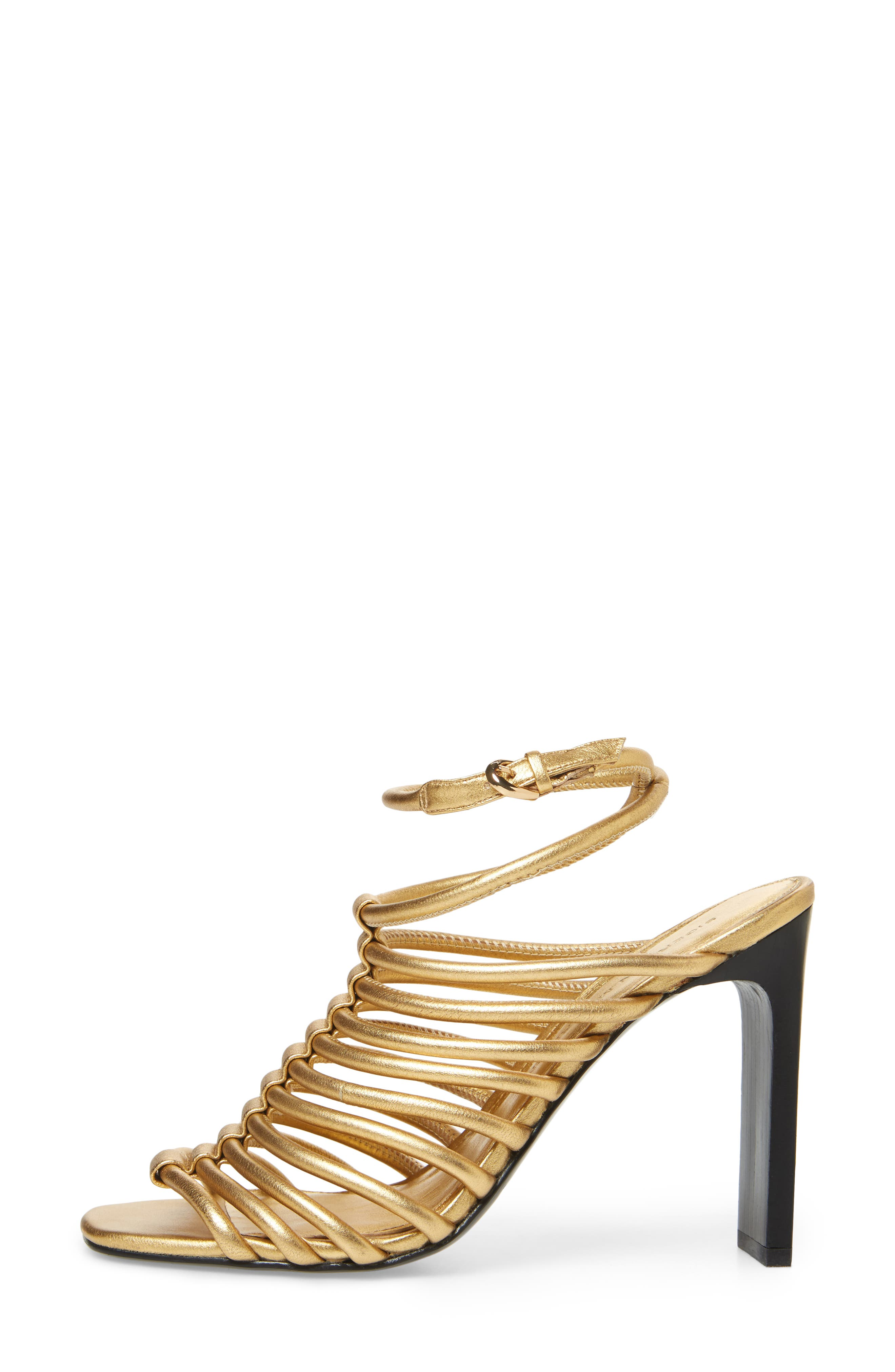 HH Caged Ankle Strap Sandal,                             Alternate thumbnail 2, color,                             Gold