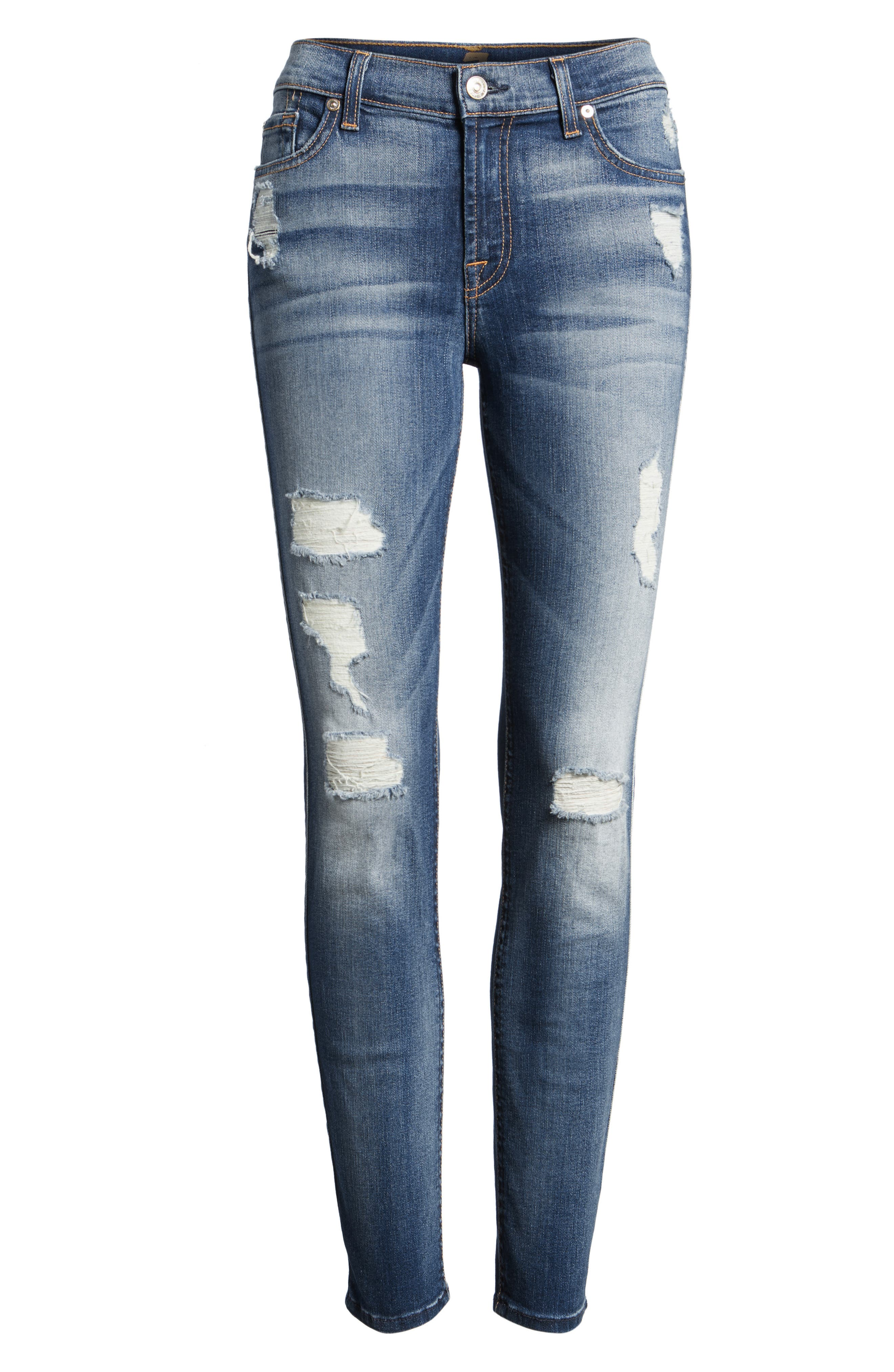 Ankle Skinny Jeans,                             Alternate thumbnail 4, color,                             Distressed Authentic Light