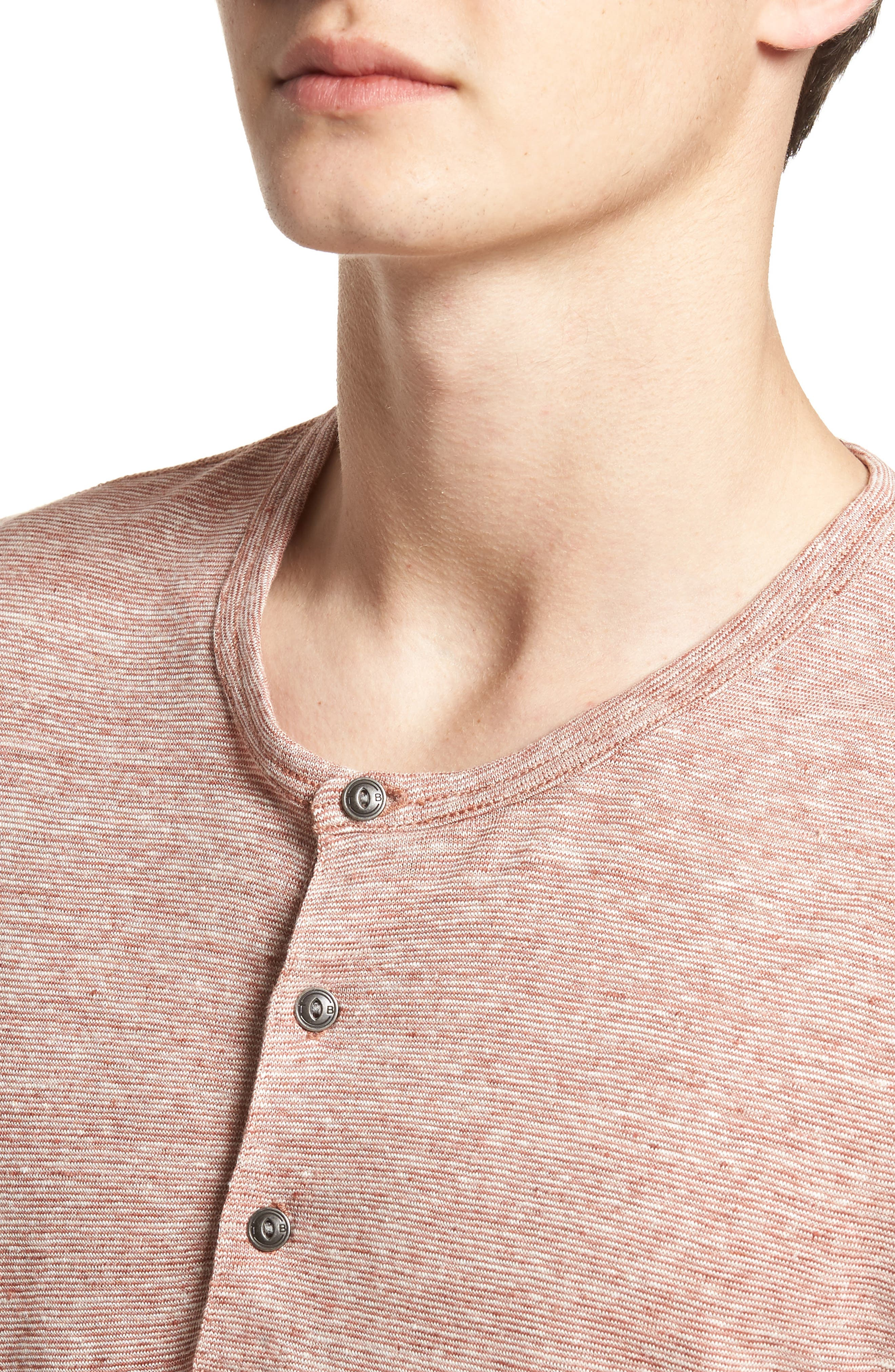 Short Sleeve Linen Henley,                             Alternate thumbnail 4, color,                             Tan Adobe Stripe