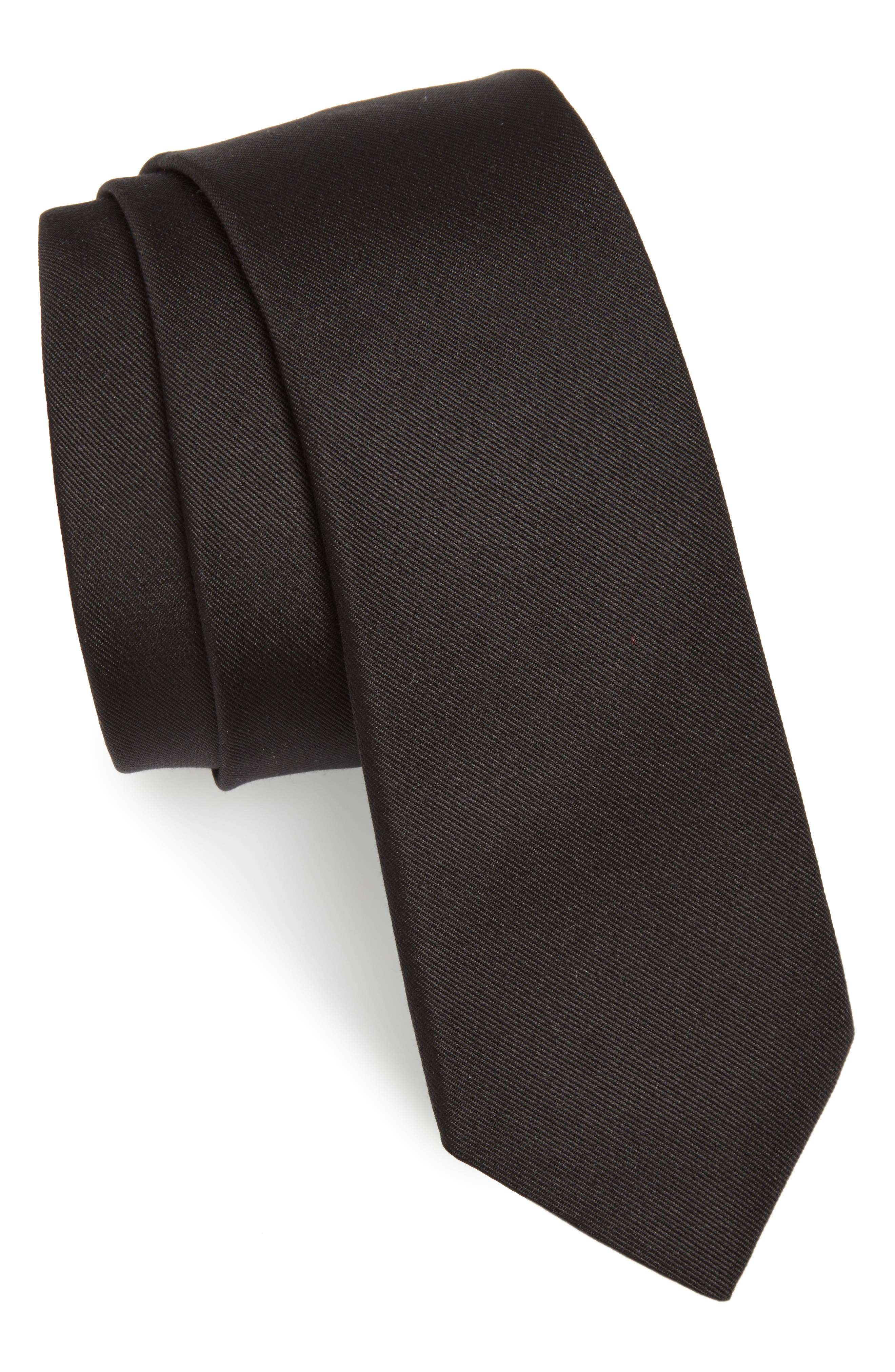 Silk Tie,                             Main thumbnail 1, color,                             On0 Black